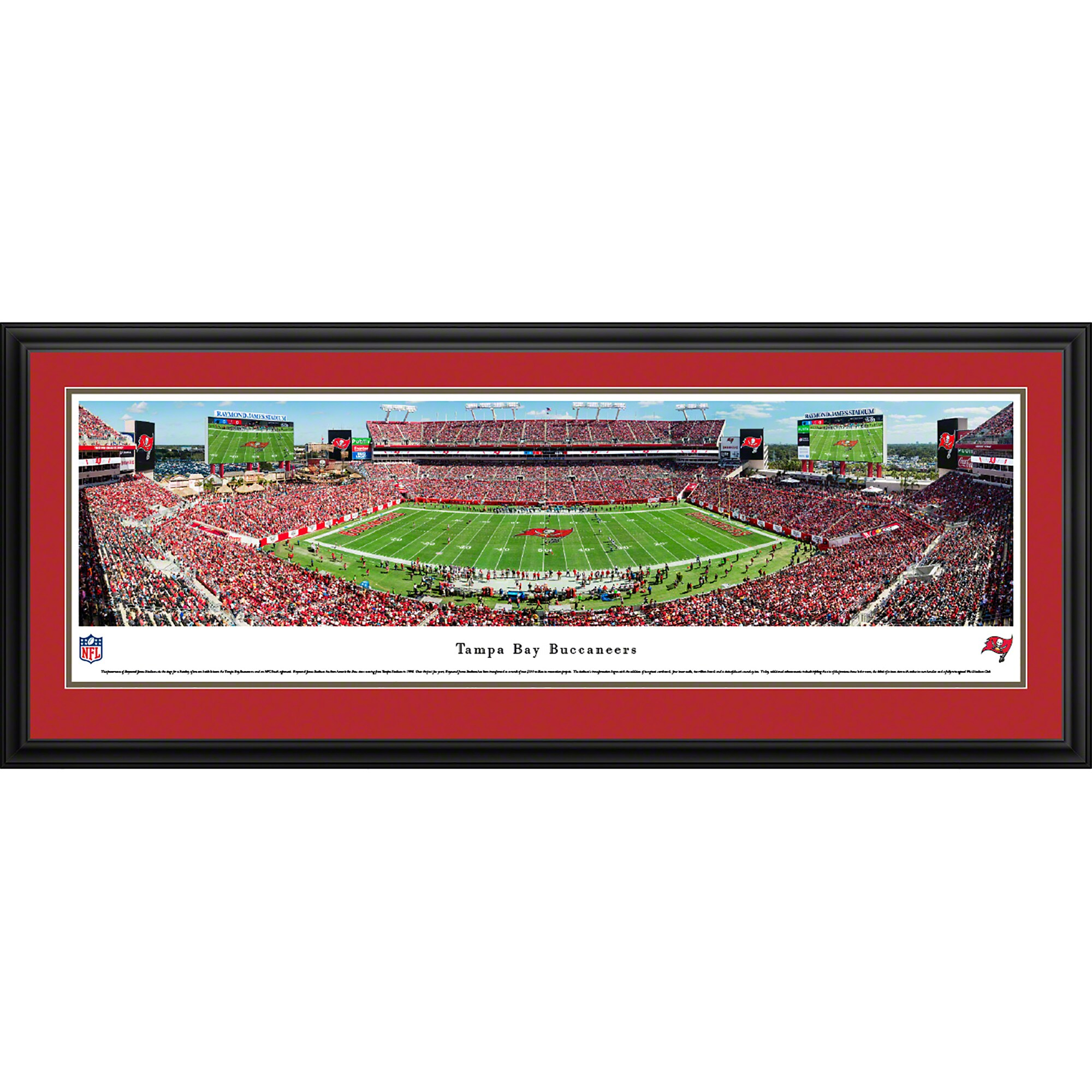 "Tampa Bay Buccaneers 44"" x 18"" 50-Yard Line Deluxe Framed Panoramic"