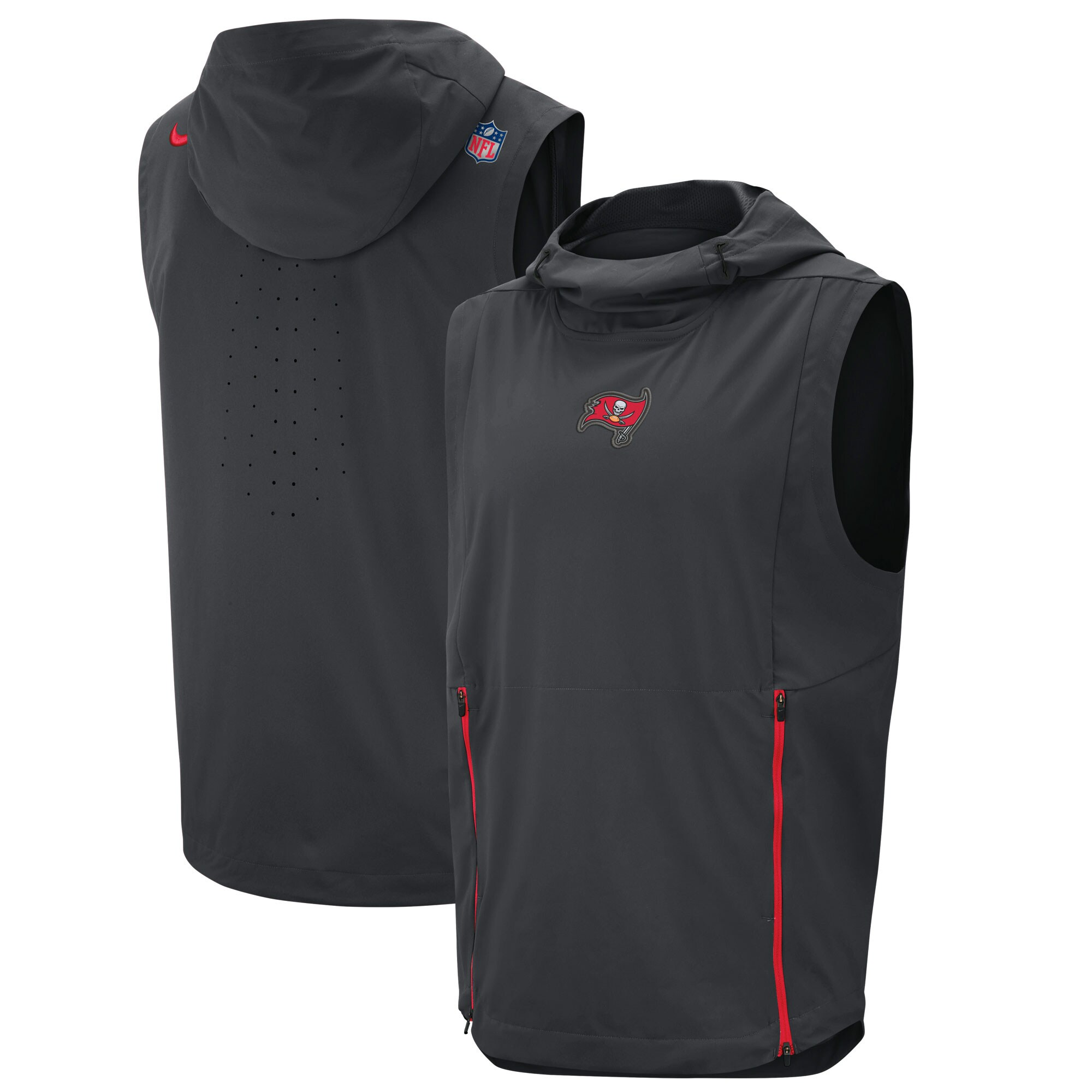 Tampa Bay Buccaneers Nike Sideline Fly Rush Performance Pullover Hooded Vest - Charcoal