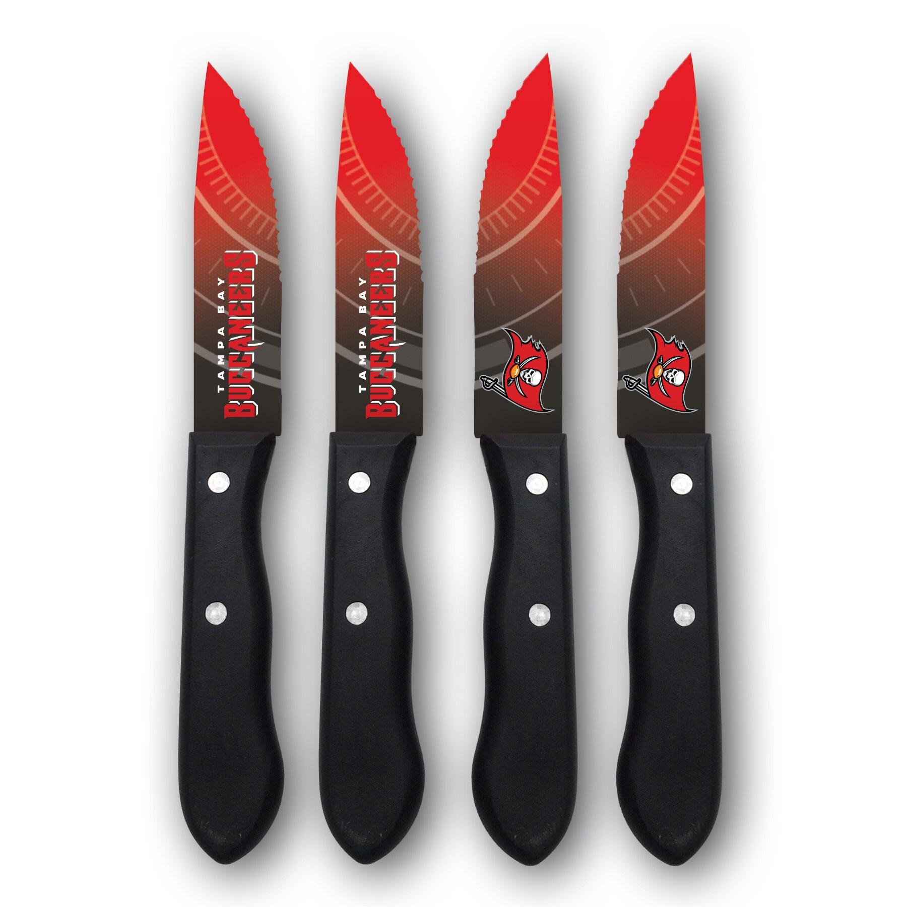 Tampa Bay Buccaneers Woodrow 4-Piece Stainless Steel Steak Knife Set