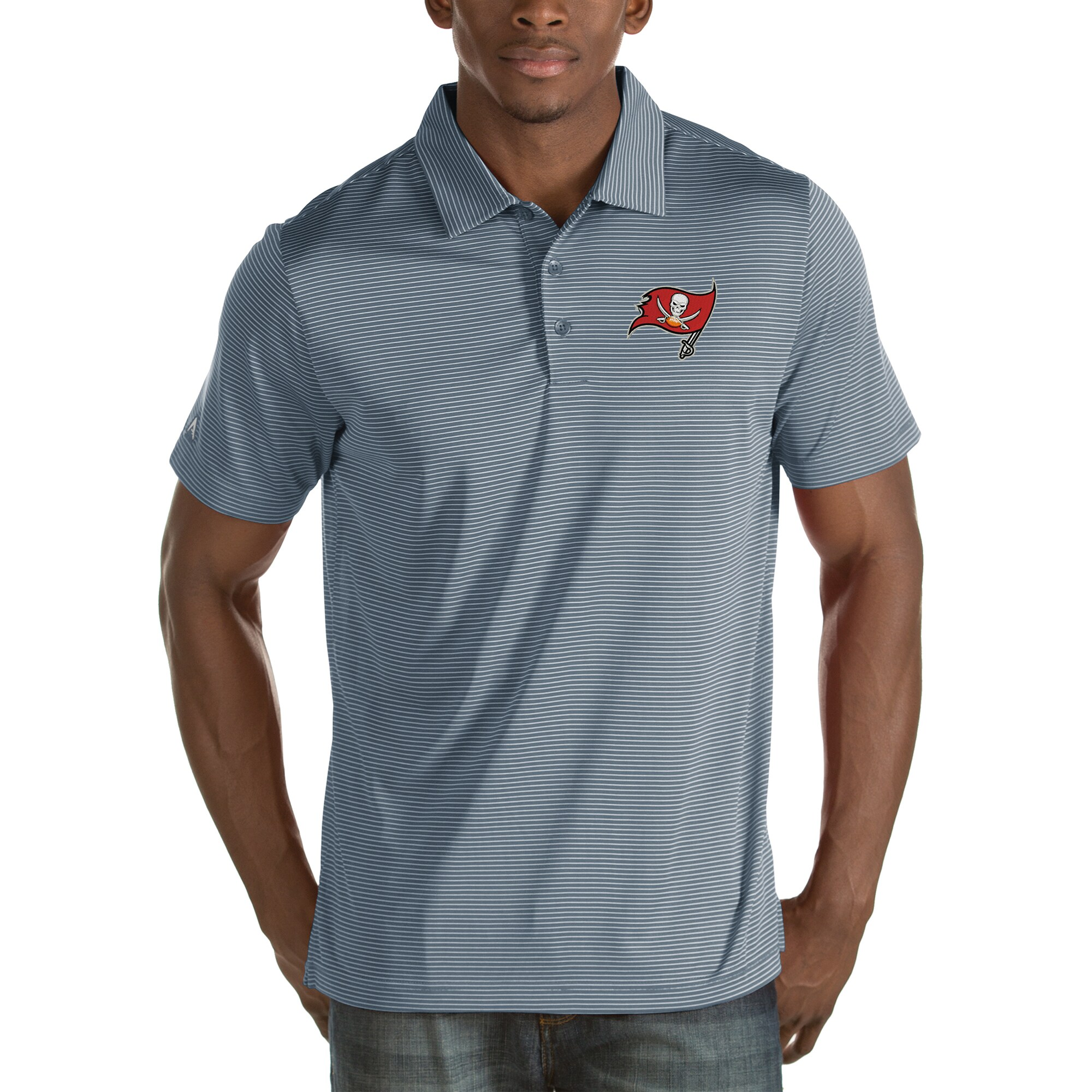 Tampa Bay Buccaneers Antigua Quest Stripe Polo - Steel