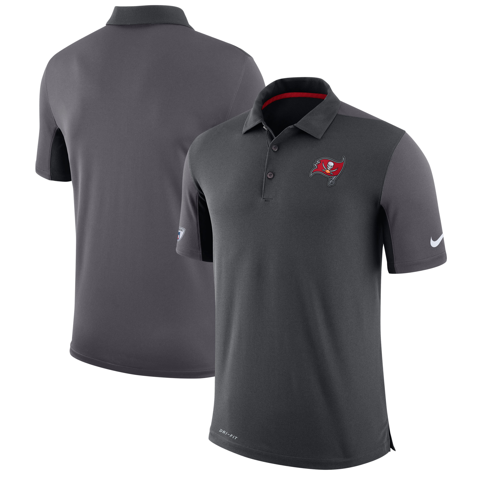 Tampa Bay Buccaneers Nike Sideline Team Issue Logo Performance Polo - Charcoal