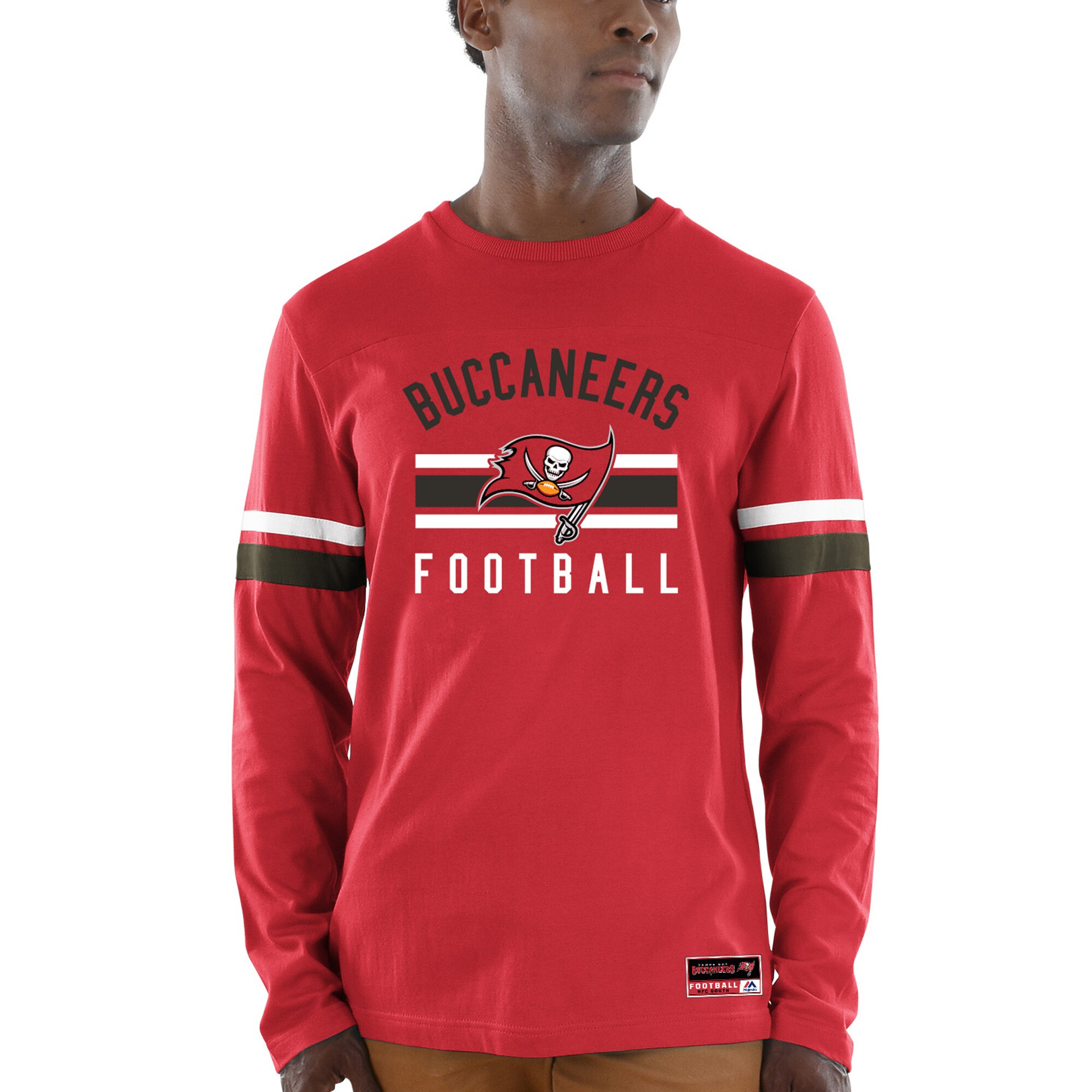 Tampa Bay Buccaneers Majestic Power Hit Wordmark Long Sleeve T-Shirt - Red