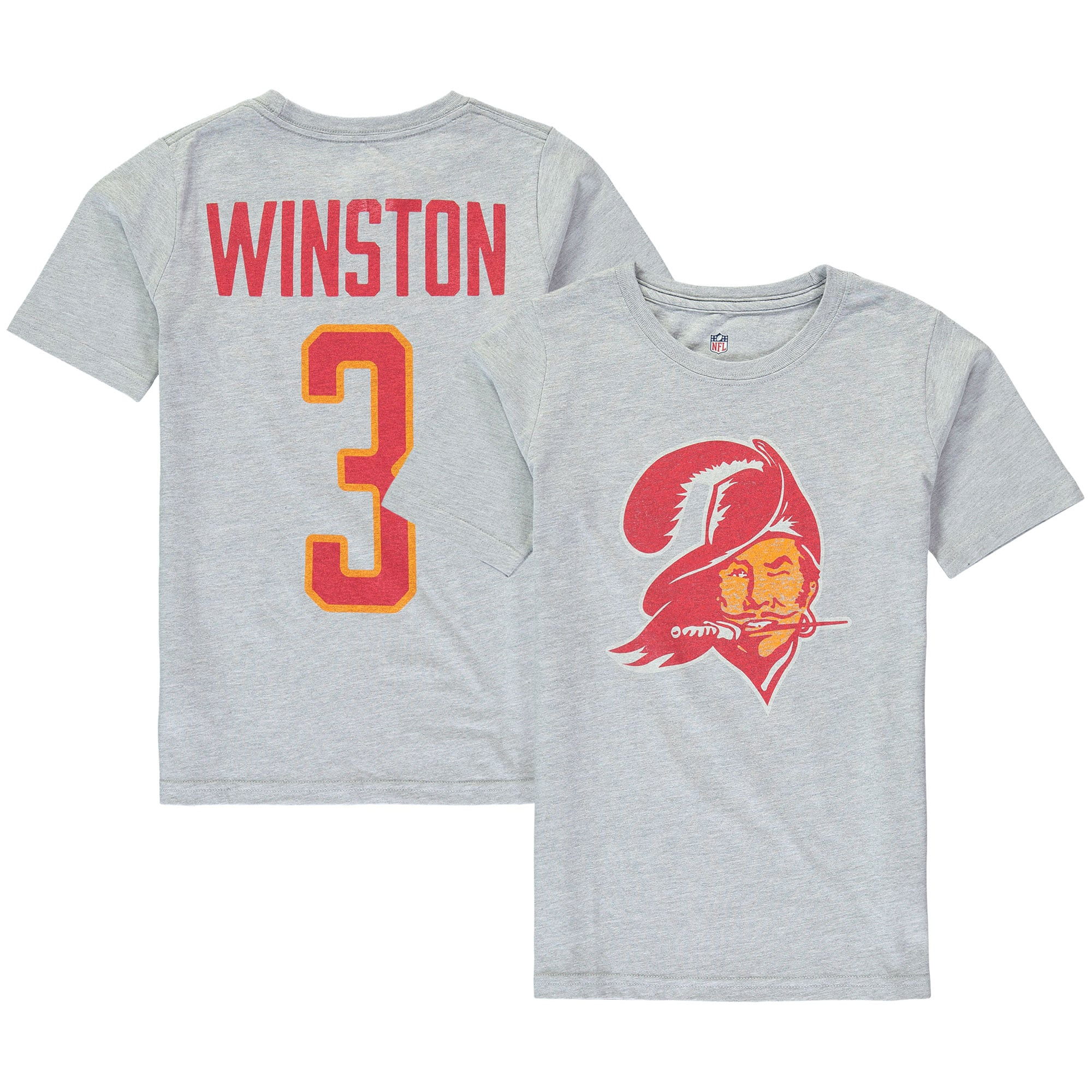 Jameis Winston Tampa Bay Buccaneers Youth Vintage Distressed Name & Number T-Shirt - Heathered Gray