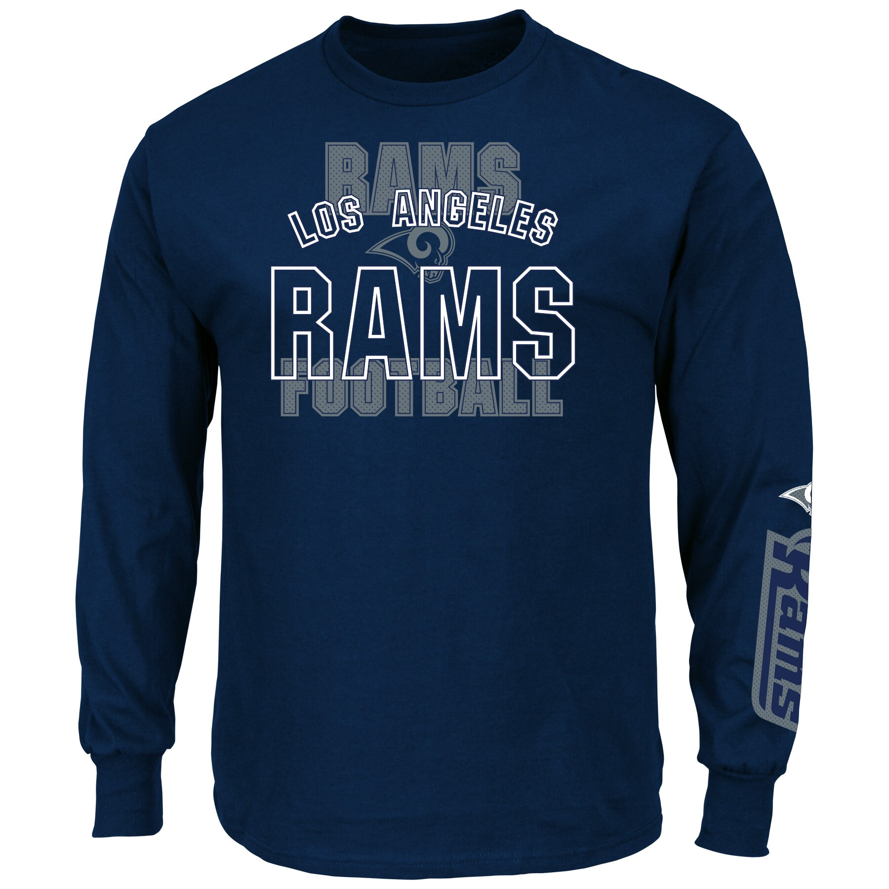 Los Angeles Rams Majestic Primary Receiver Slogan Long Sleeve T-Shirt - Navy
