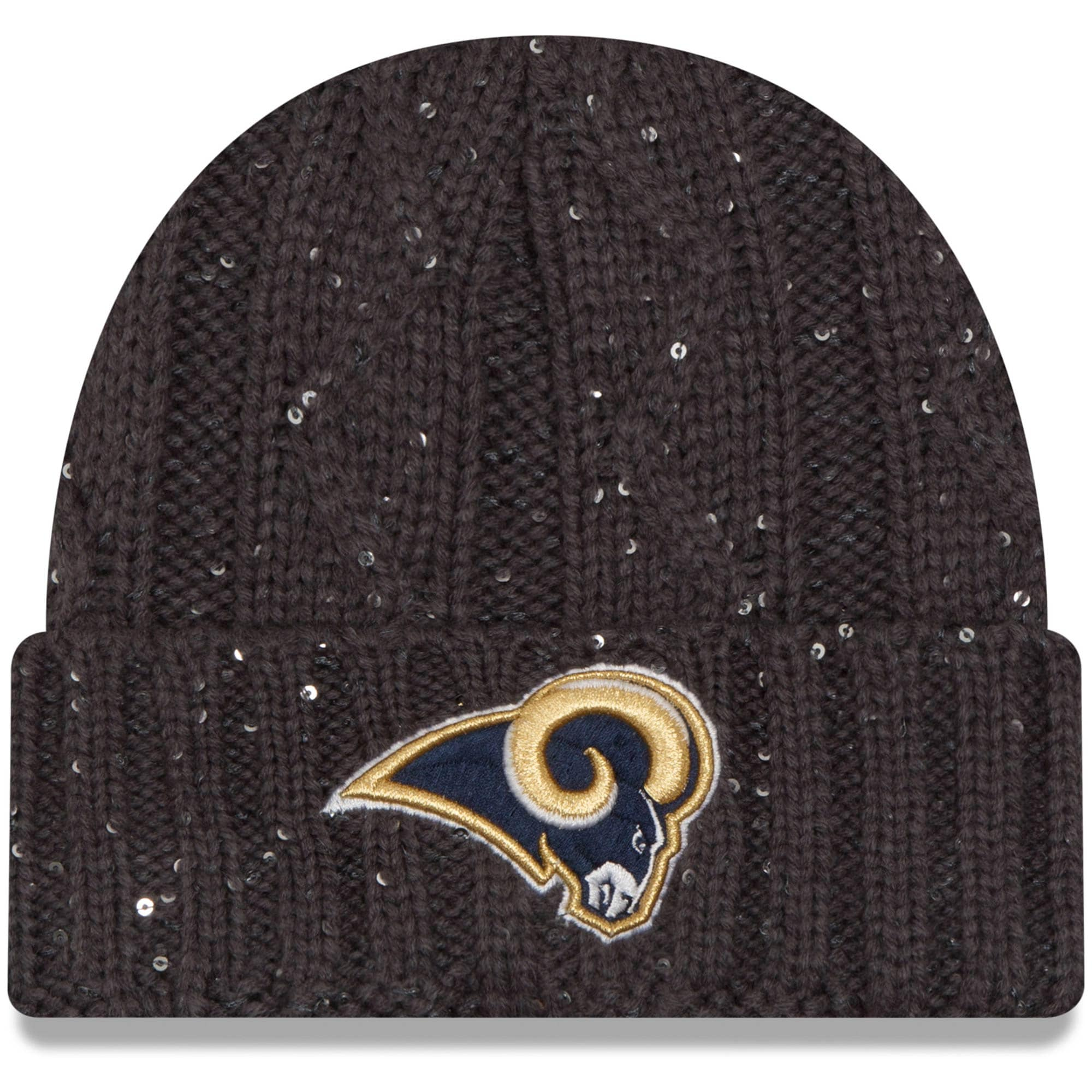 Los Angeles Rams New Era Women's Cable Frosted Cuffed Knit Hat - Graphite