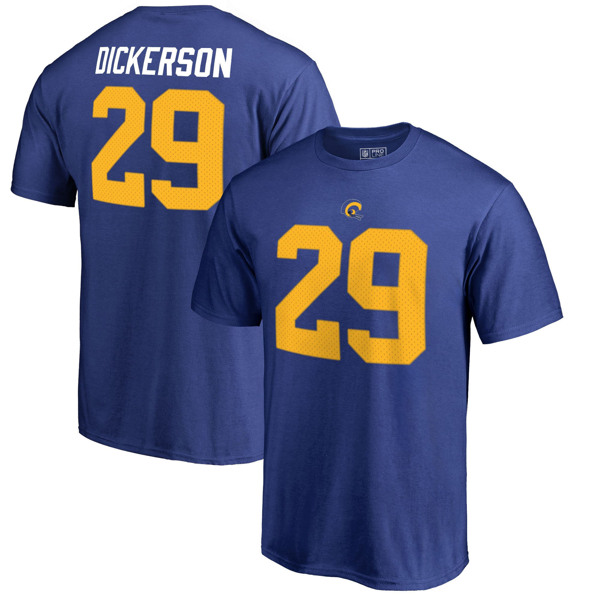 Eric Dickerson Los Angeles Rams NFL Pro Line by Fanatics Branded Retired Player Authentic Stack Name & Number T-Shirt - Royal