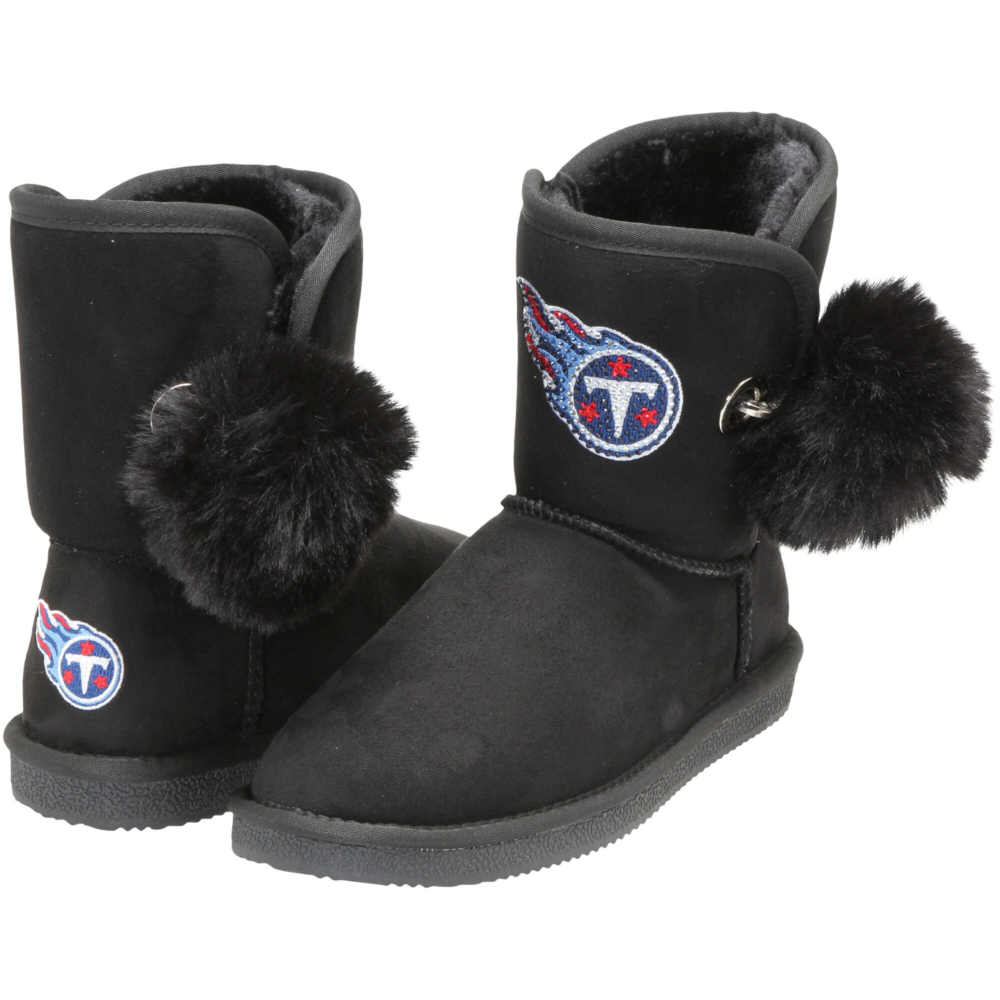 Tennessee Titans Cuce Women's The Fumble Faux Fur Boots - Black