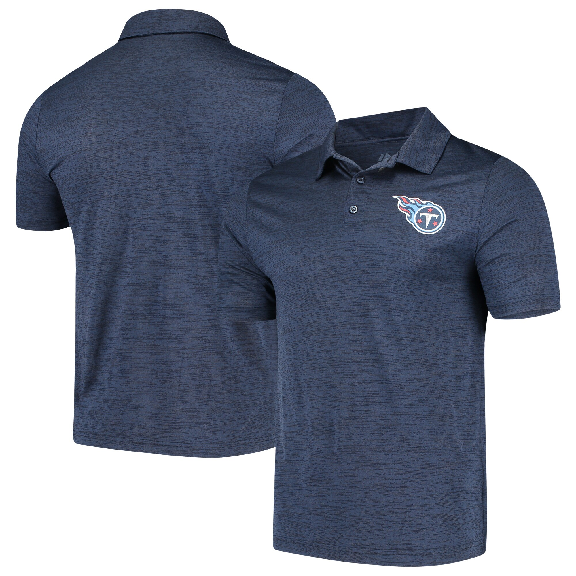 Tennessee Titans Majestic Iconic Positive Production Polo - Heathered Navy