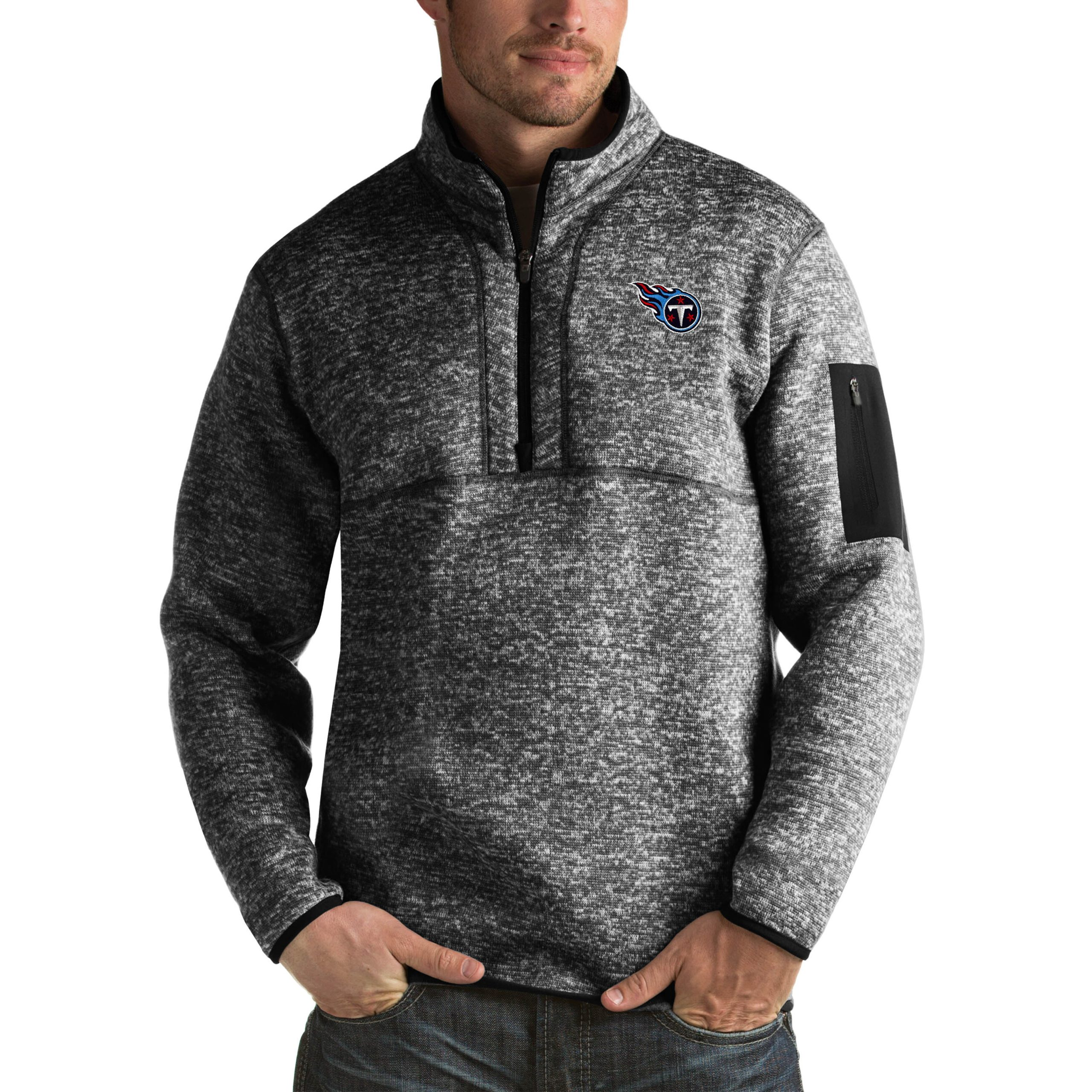 Tennessee Titans Antigua Fortune Big & Tall Quarter-Zip Pullover Jacket - Heather Black