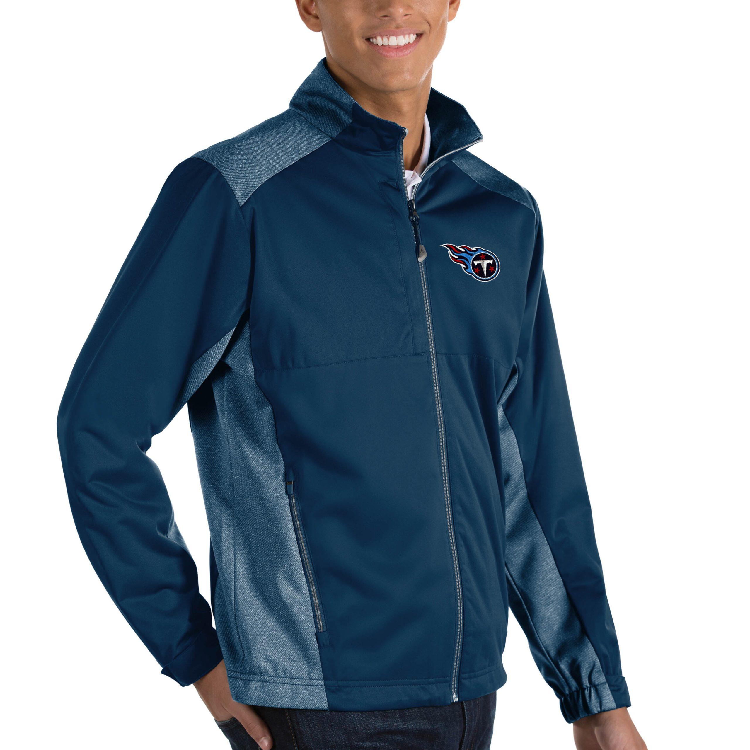 Tennessee Titans Antigua Revolve Big & Tall Full-Zip Jacket - Heather Navy
