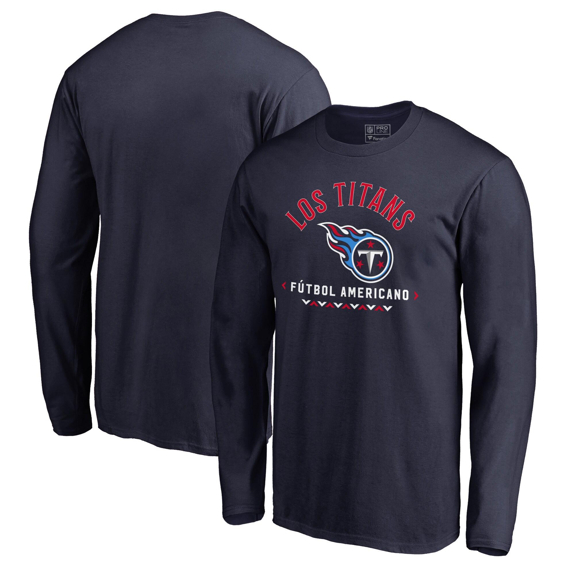 Tennessee Titans NFL Pro Line by Fanatics Branded Futbol Americano Long Sleeve T-Shirt - Navy