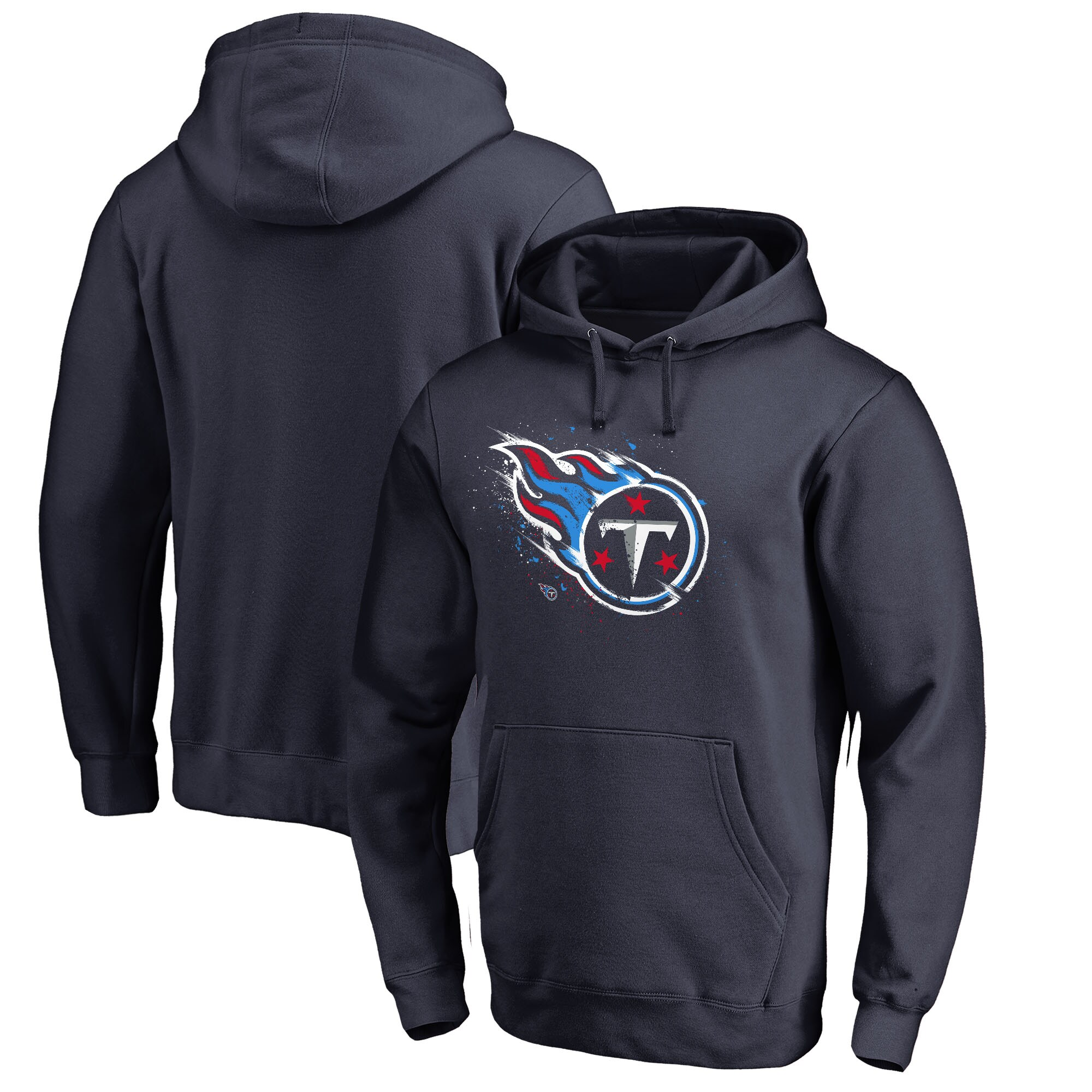Tennessee Titans NFL Pro Line by Fanatics Branded Splatter Logo Pullover Hoodie - Navy