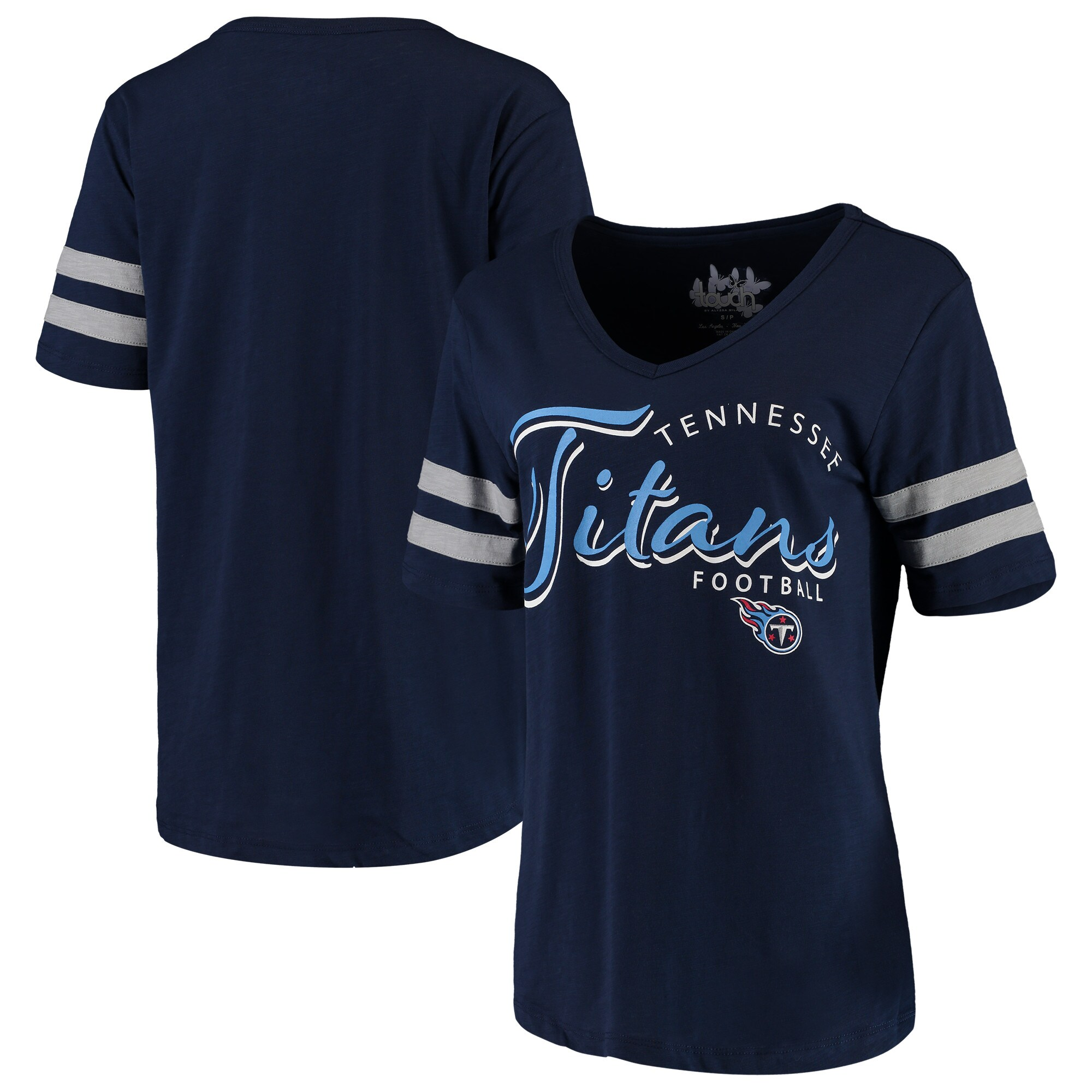 Tennessee Titans Touch by Alyssa Milano Women's Triple Play V-Neck T-Shirt - Navy