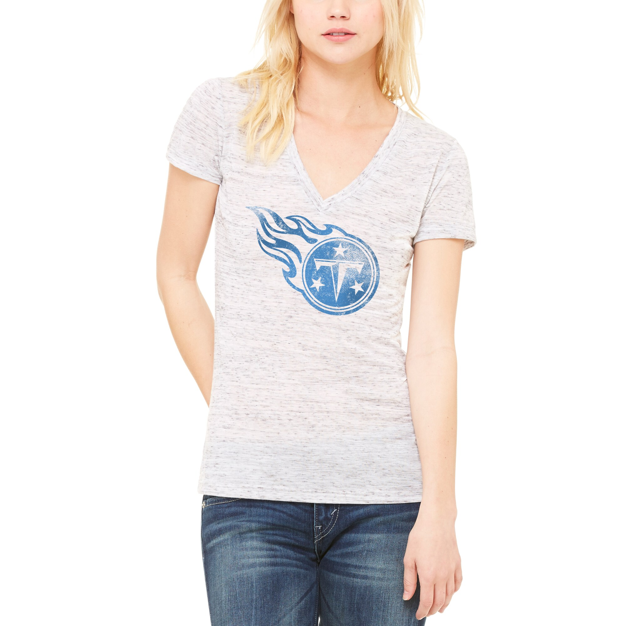 Tennessee Titans Let Loose by RNL Women's Distressed Primary Logo T-Shirt - White Marble