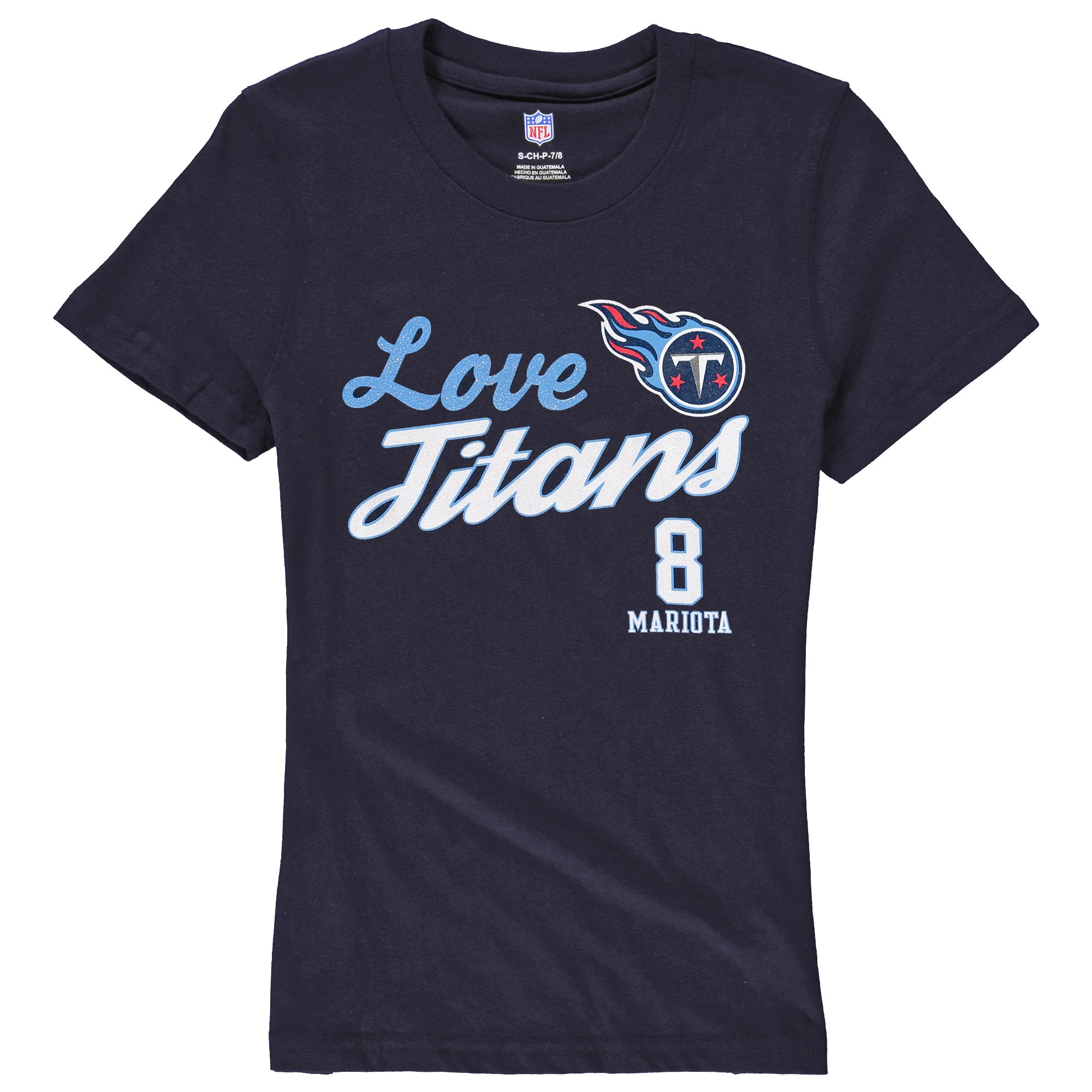 Marcus Mariota Tennessee Titans Girls Youth Glitter Live Love Team Player Name & Number T-Shirt - Navy