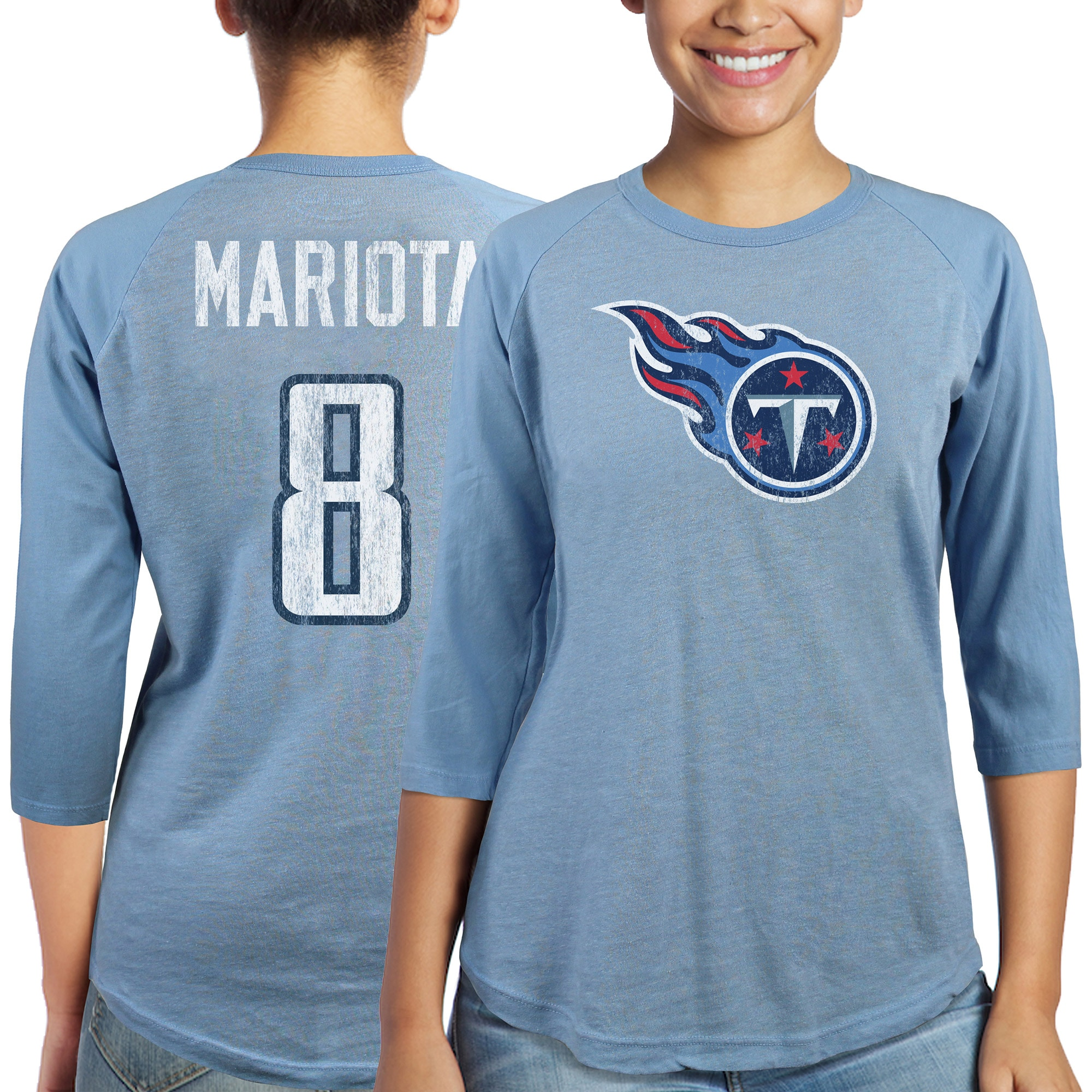 Marcus Mariota Tennessee Titans Majestic Women's Player Name & Number Tri-Blend Three-Quarter Sleeve T-Shirt - Light Blue