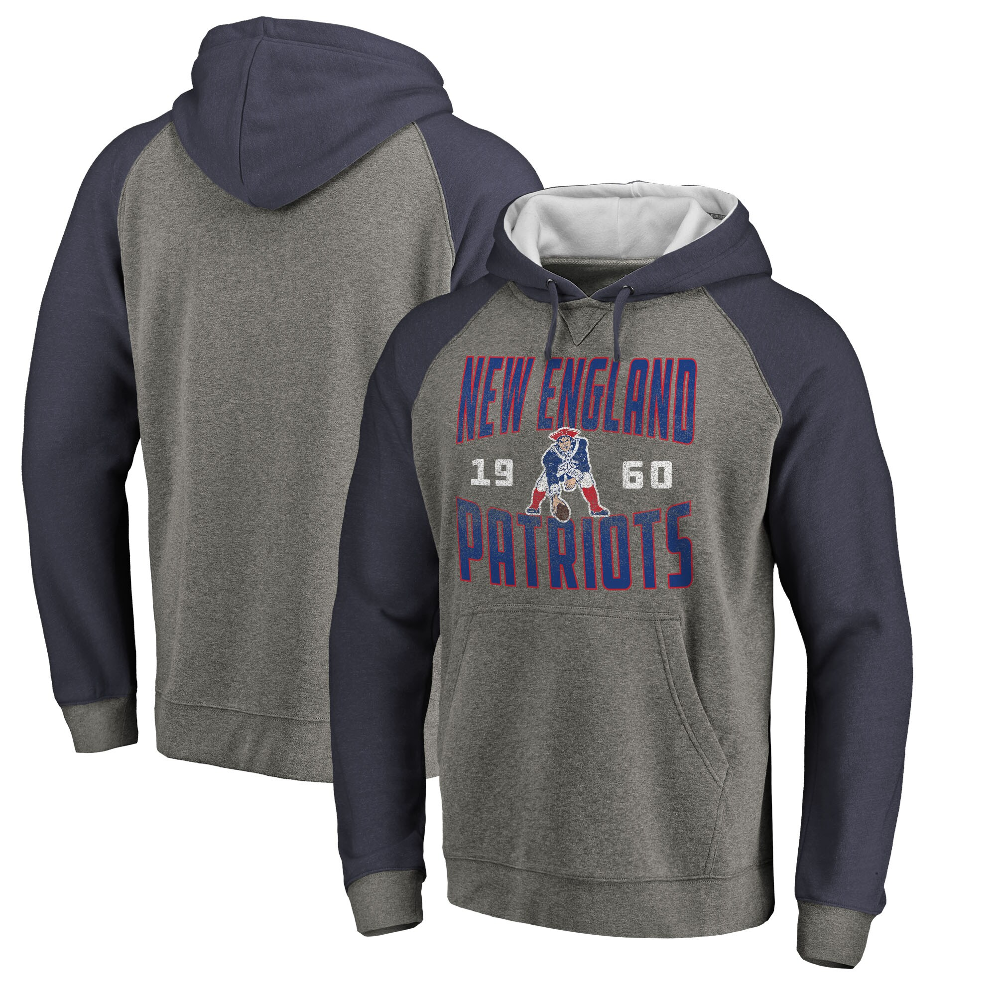 New England Patriots NFL Pro Line by Fanatics Branded Timeless Collection Antique Stack Tri-Blend Raglan Pullover Hoodie - Ash