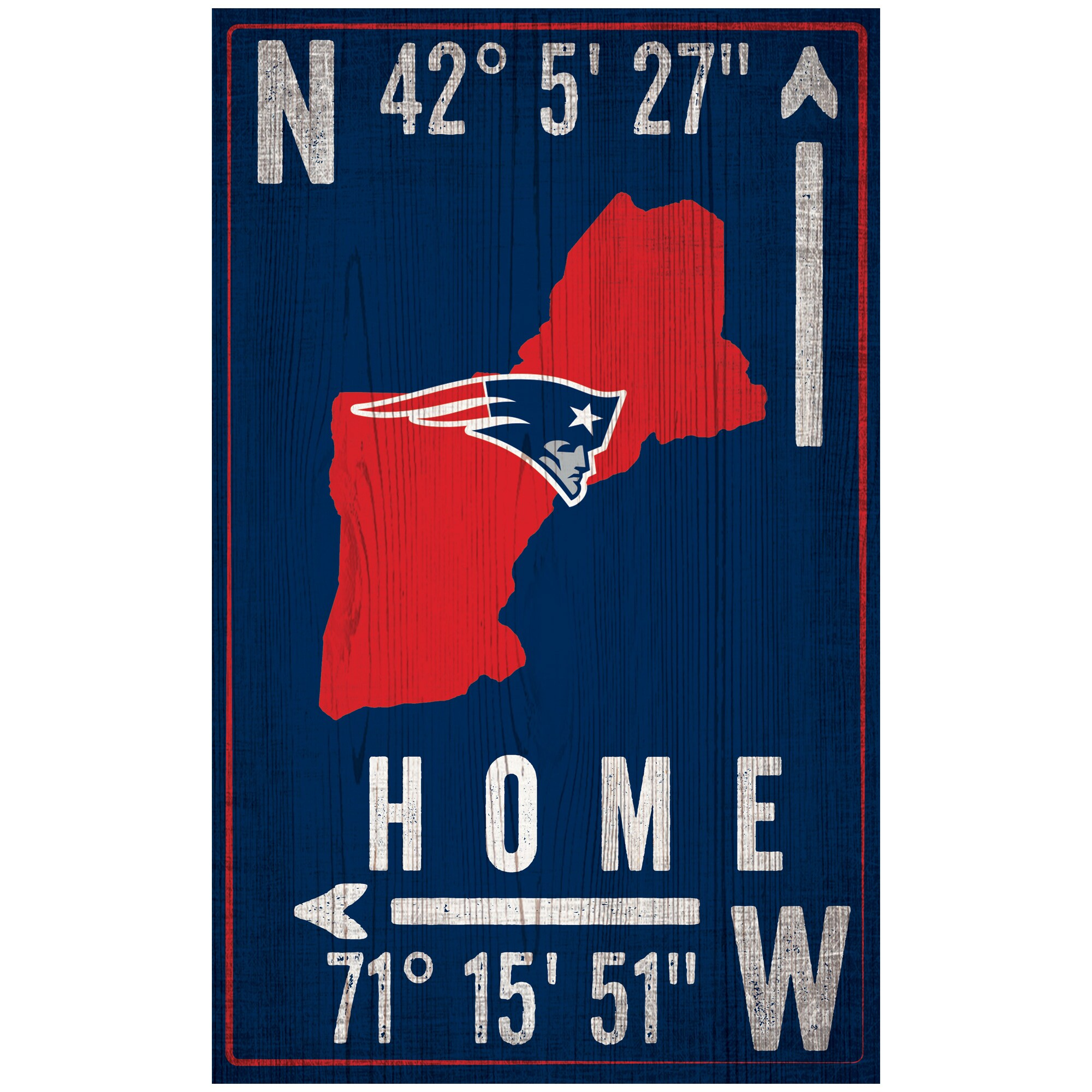 "New England Patriots 11"" x 19"" Coordinate Sign"