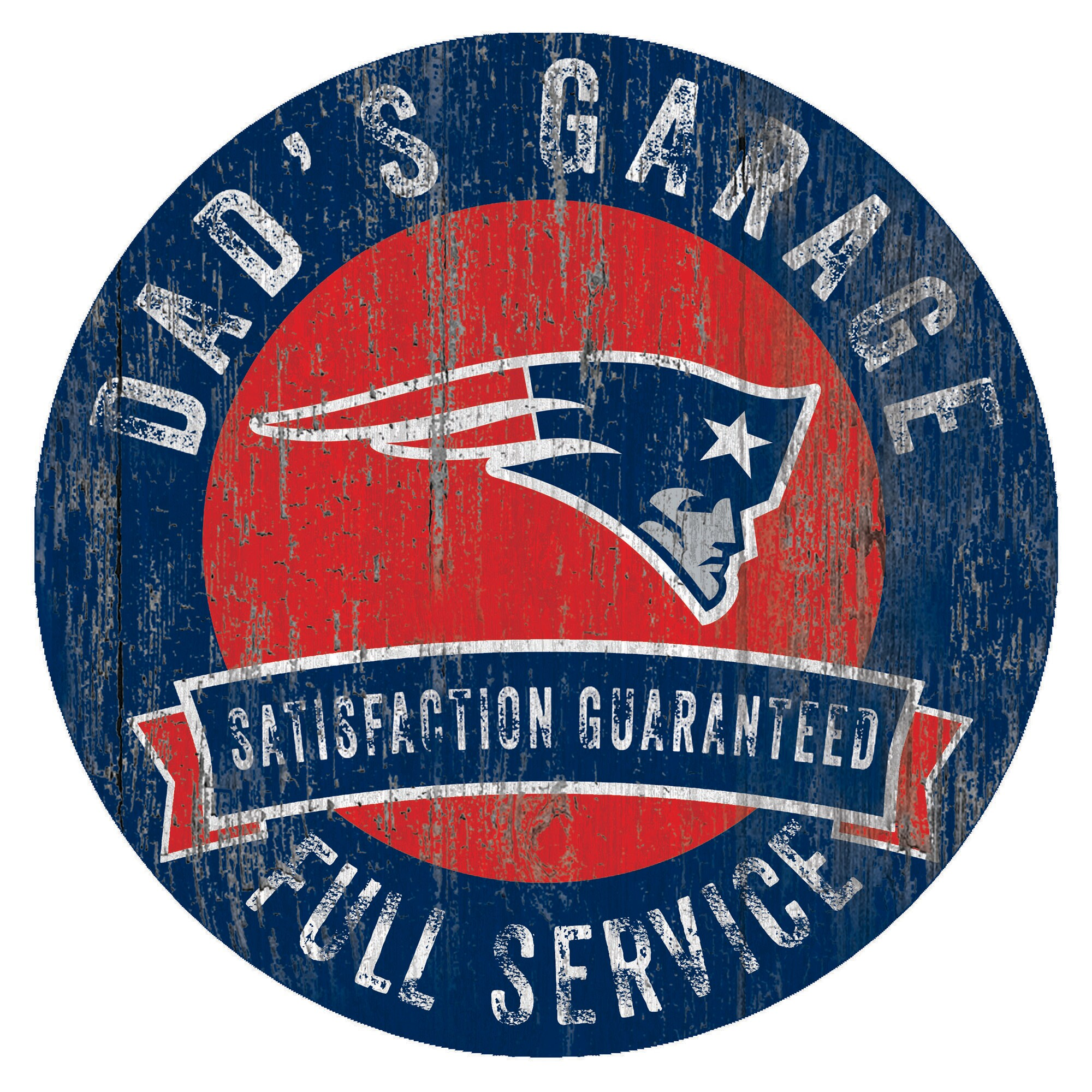 "New England Patriots 12"" x 12"" Dad's Garage Sign"