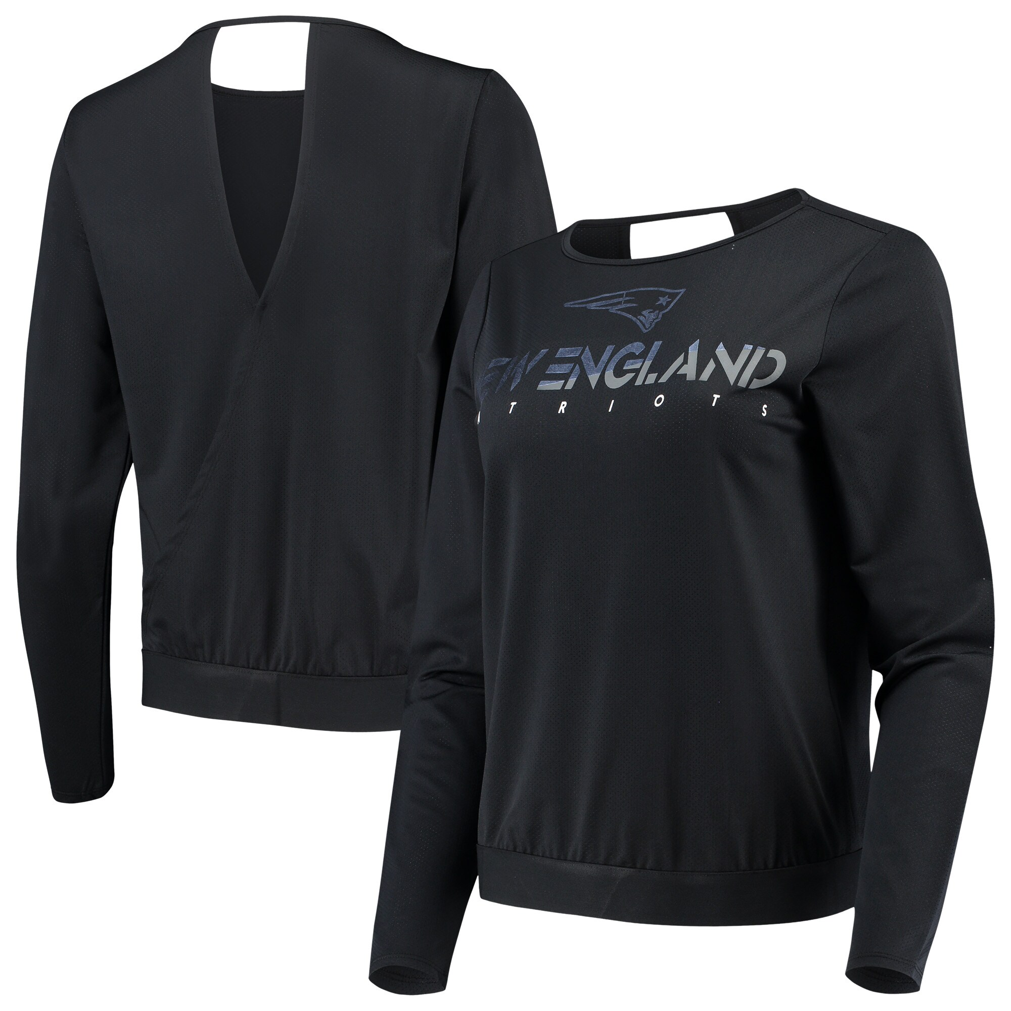 New England Patriots Touch by Alyssa Milano Women's Breeze Back Long Sleeve T-Shirt - Black