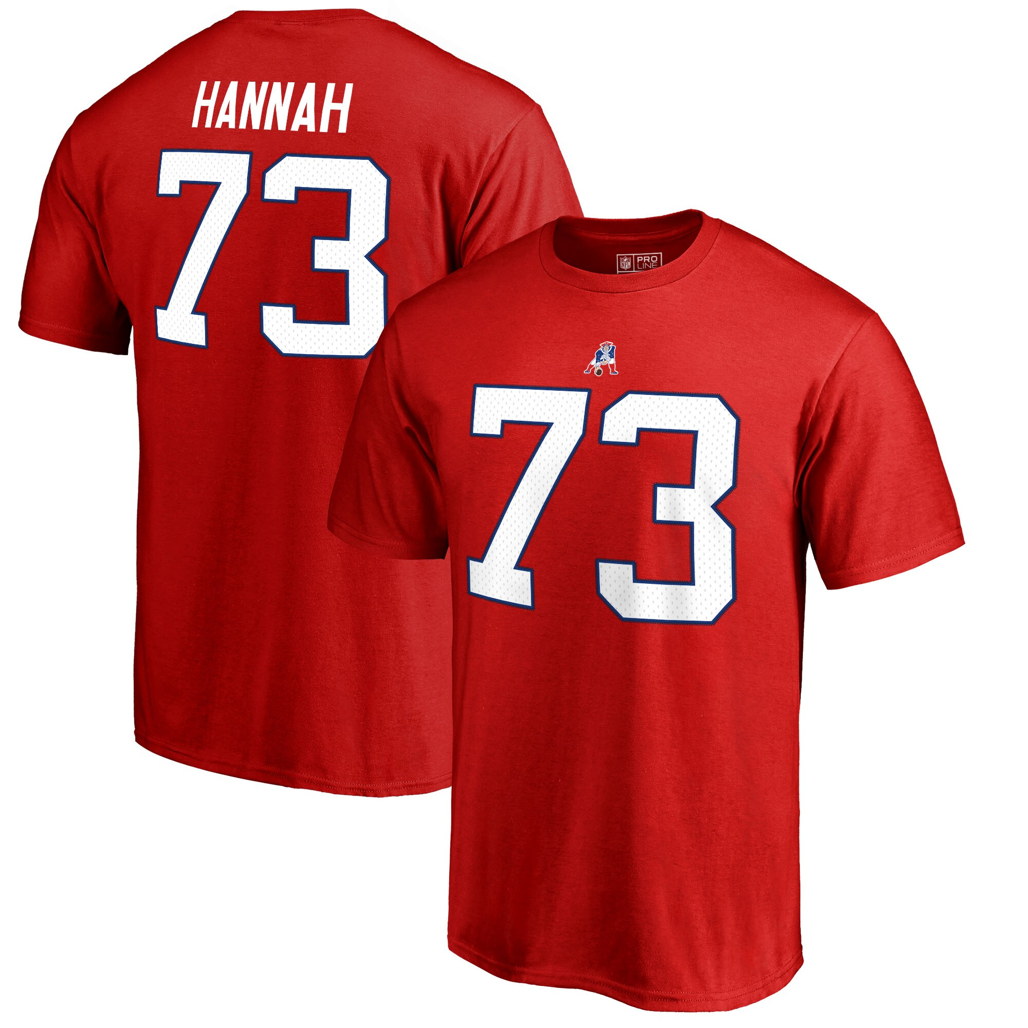 John Hannah New England Patriots NFL Pro Line by Fanatics Branded Retired Player Authentic Stack Name & Number T-Shirt - Red