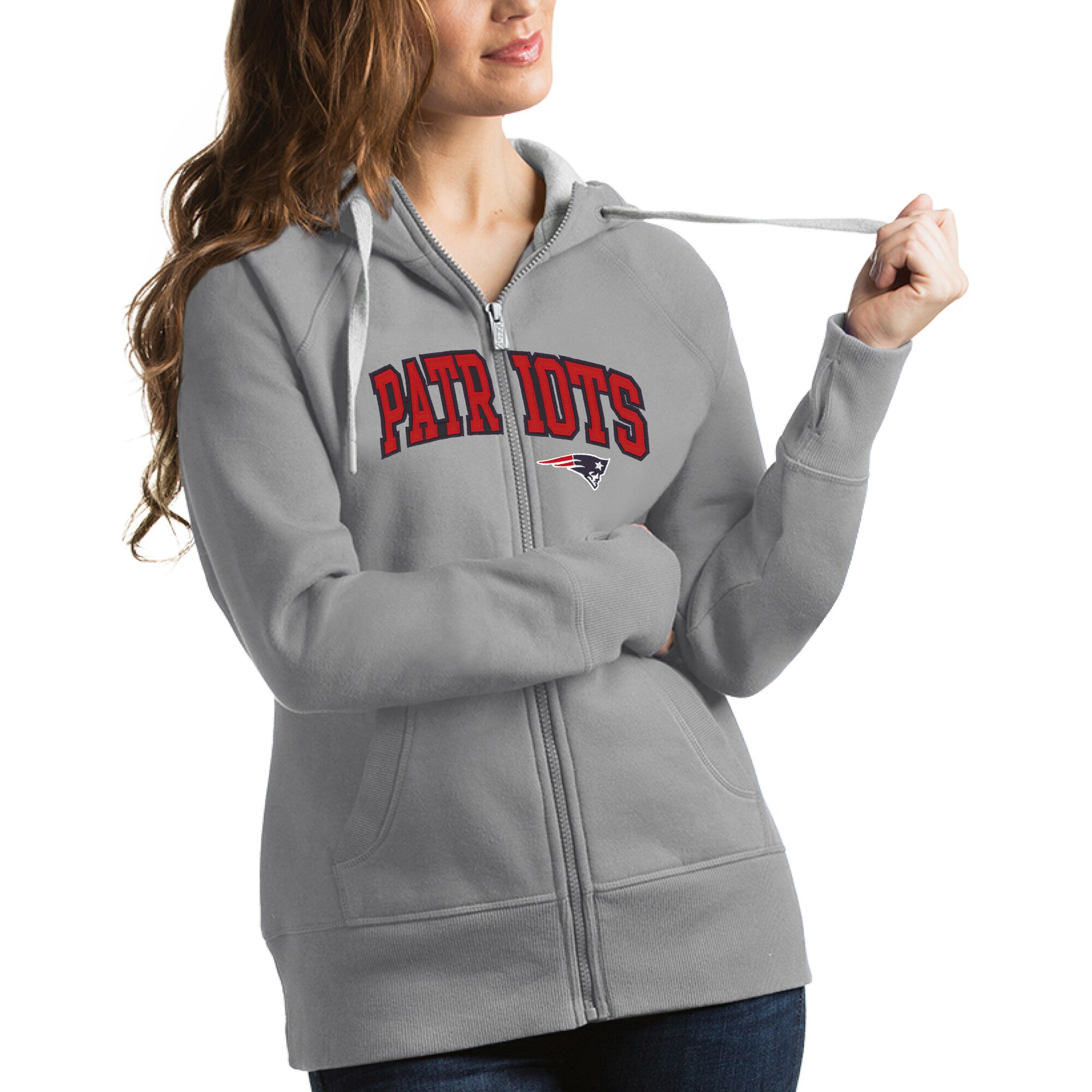 New England Patriots Antigua Women's Victory Full-Zip Hoodie - Silver