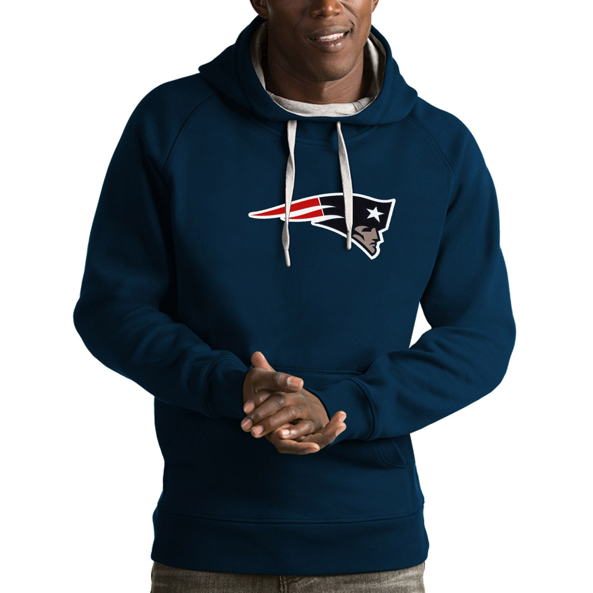 New England Patriots Antigua Victory Pullover Hoodie - Navy