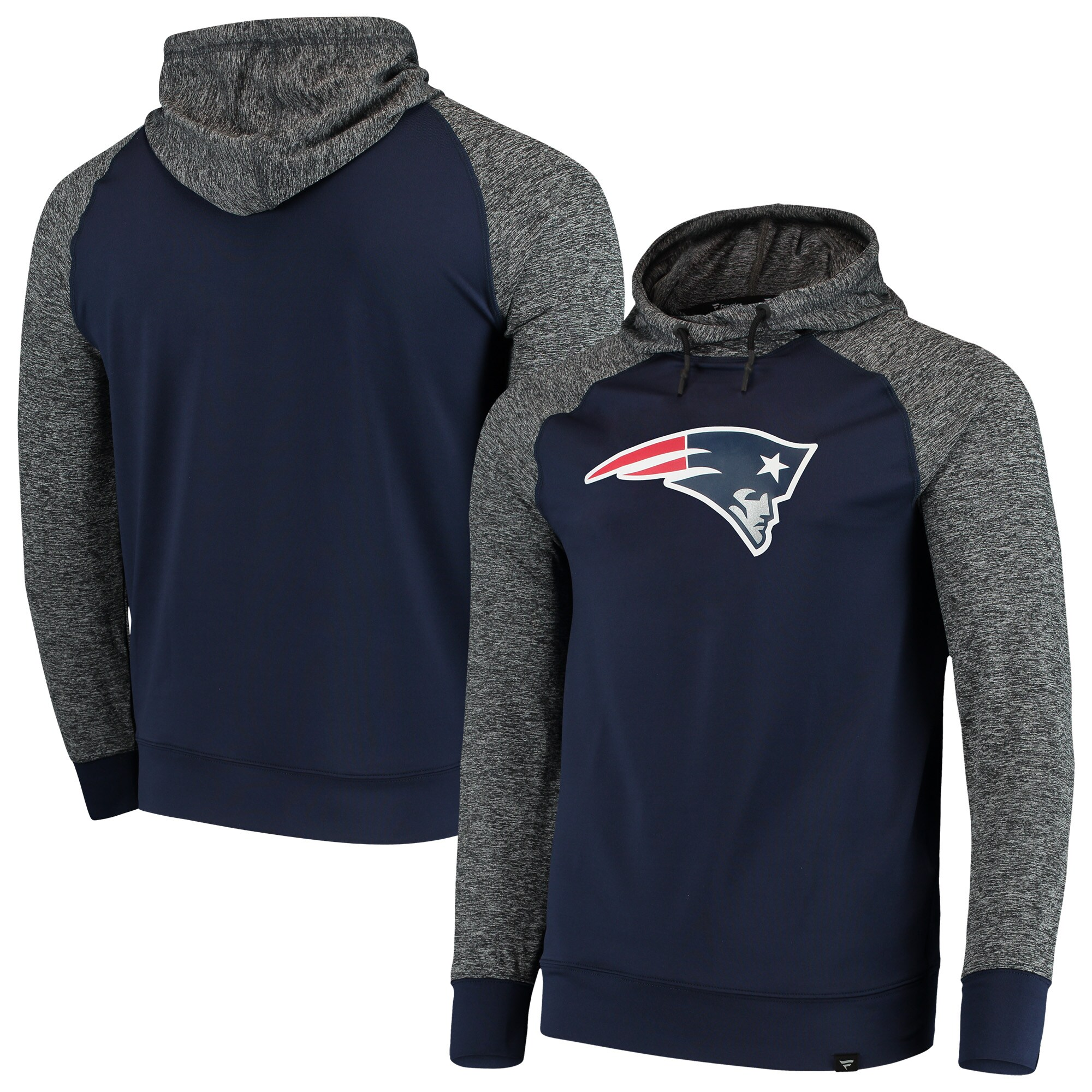 New England Patriots NFL Pro Line by Fanatics Branded Static Pullover Hoodie - Heathered Black/Navy
