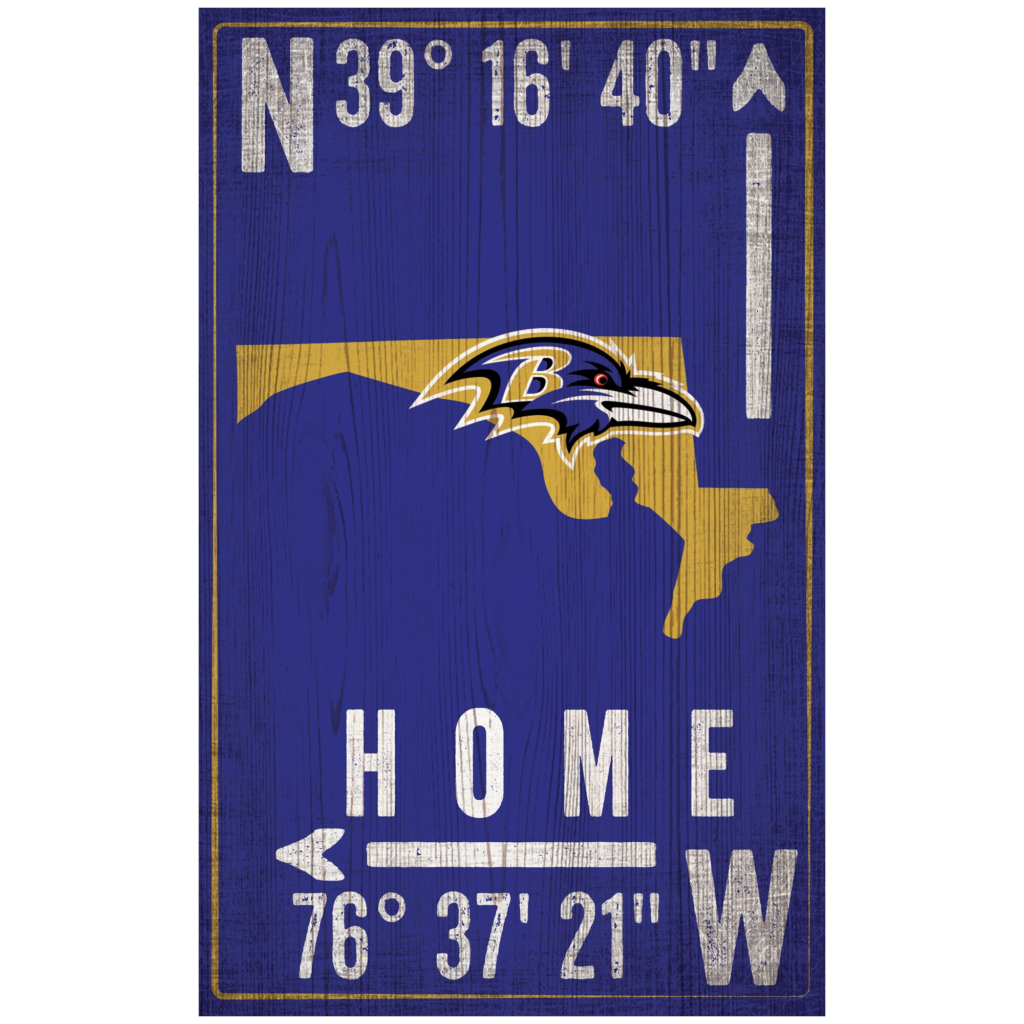 "Baltimore Ravens 11"" x 19"" Coordinate Sign"