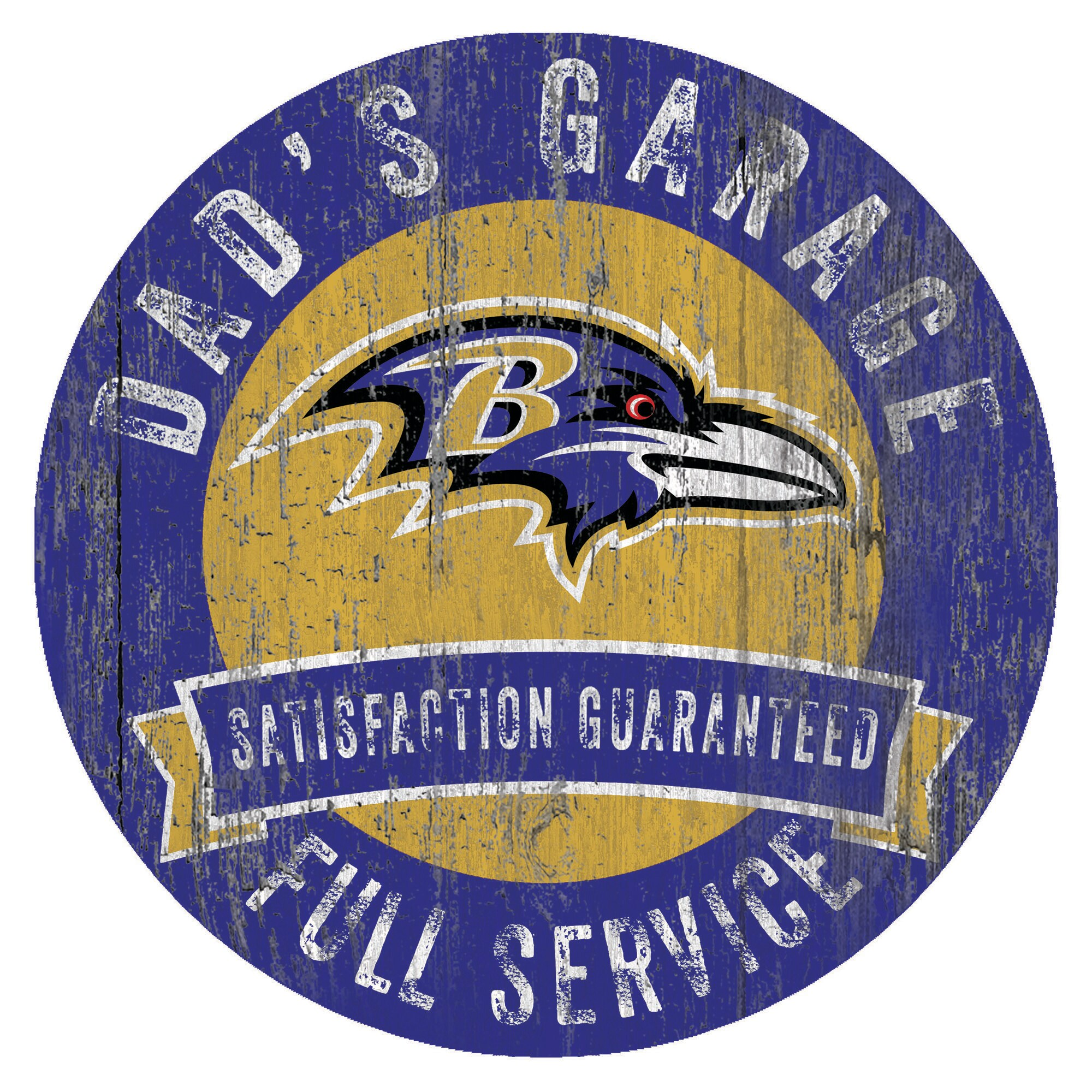 "Baltimore Ravens 12"" x 12"" Dad's Garage Sign"