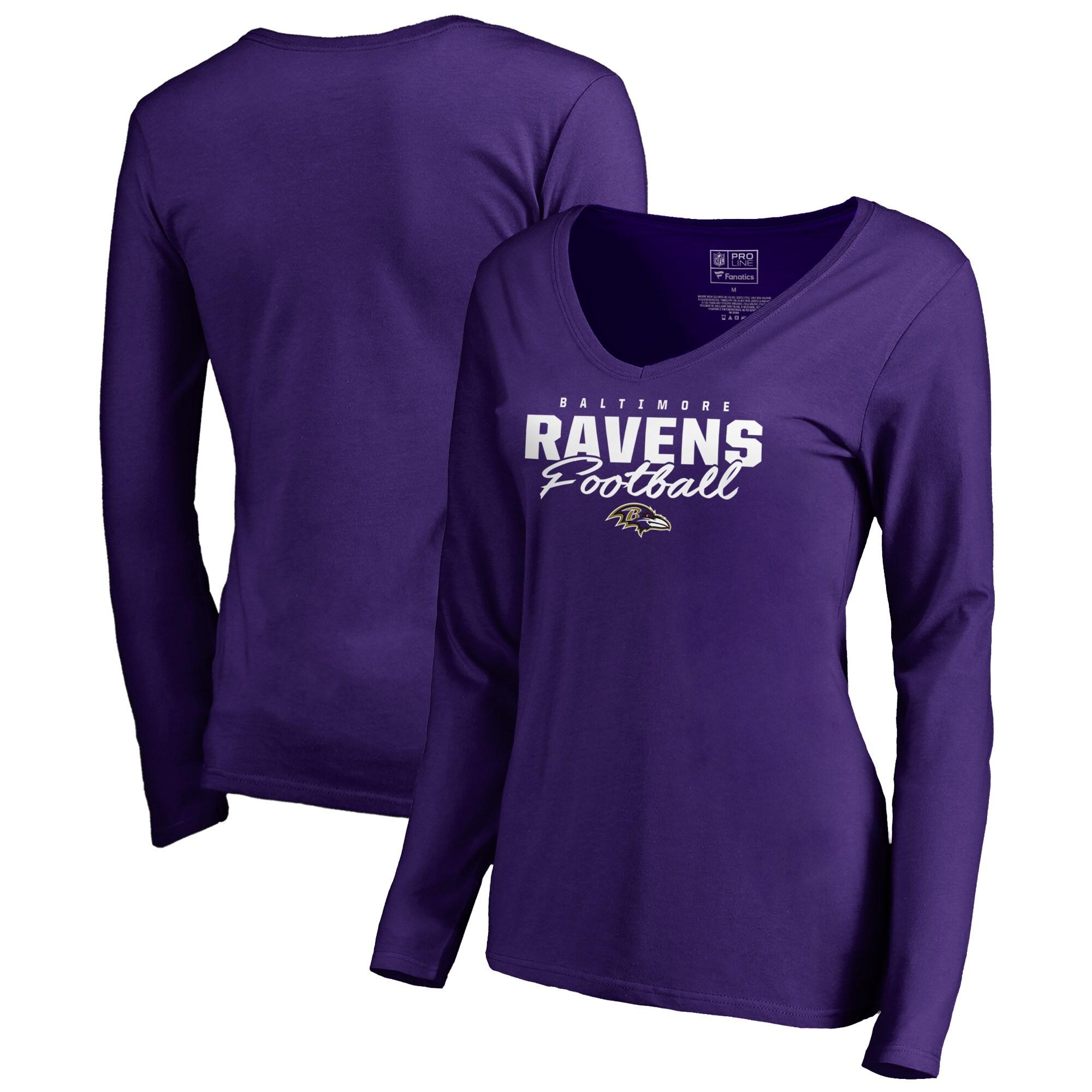 Baltimore Ravens NFL Pro Line by Fanatics Branded Women's Iconic Collection Script Assist Long Sleeve V-Neck T-Shirt - Purple