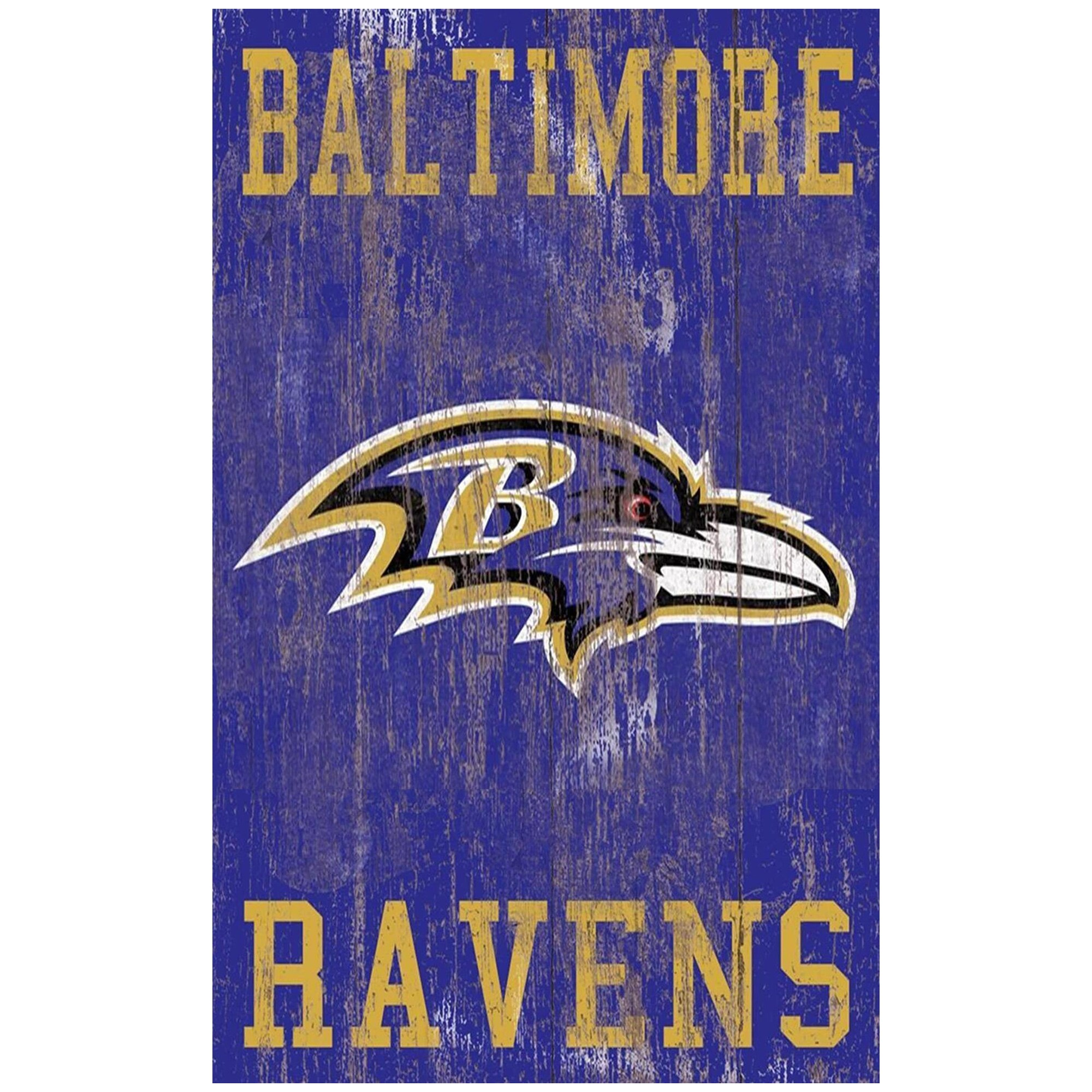 Baltimore Ravens 11'' x 19'' Heritage Distressed Logo Sign