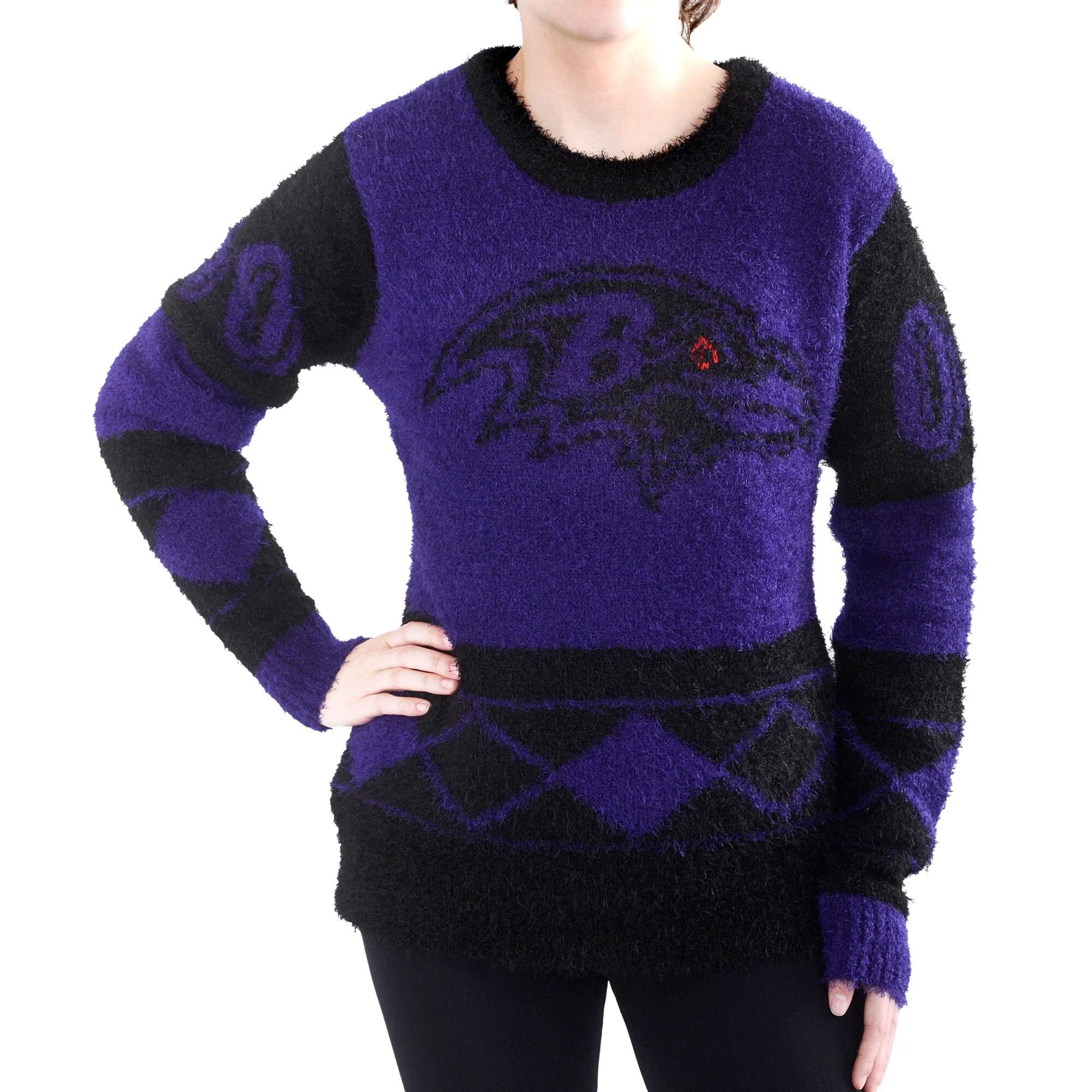 Baltimore Ravens Klew Women's Eyelash Crew Ugly Sweater - Purple