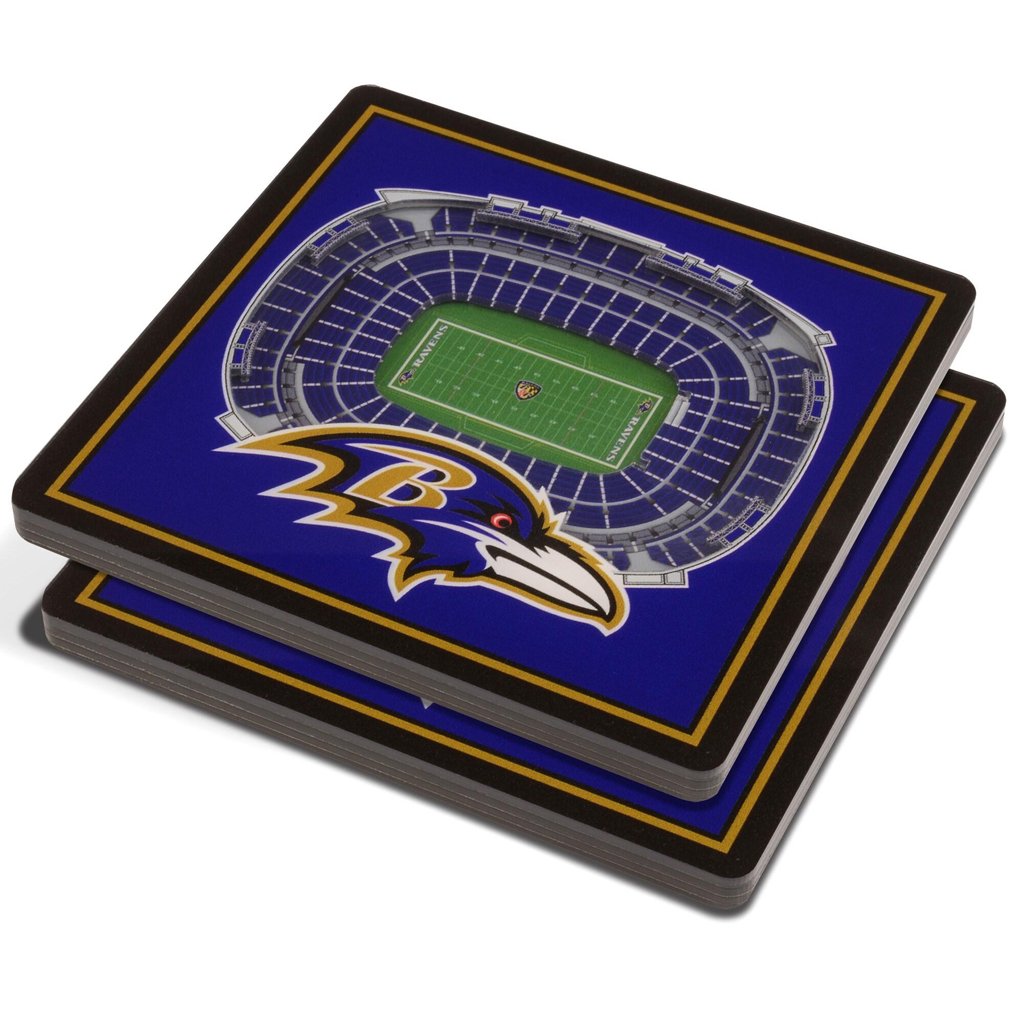 Baltimore Ravens 3D StadiumViews Coasters - Purple