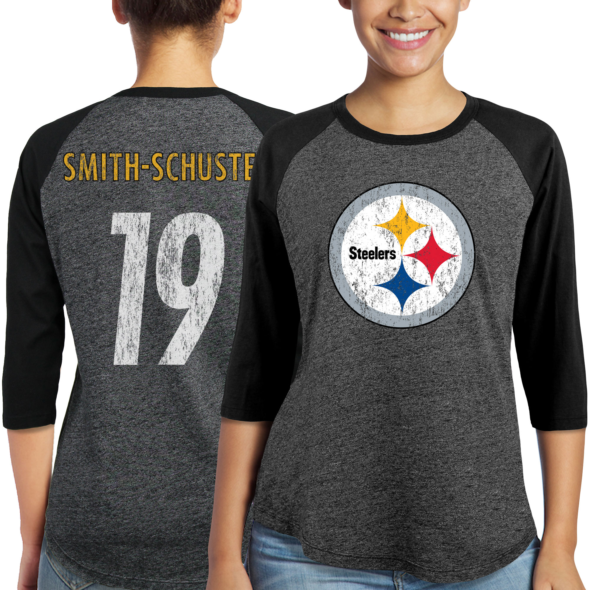 JuJu Smith-Schuster Pittsburgh Steelers Majestic Women's Player Name & Number Tri-Blend 3/4-Sleeve Raglan T-Shirt - Black