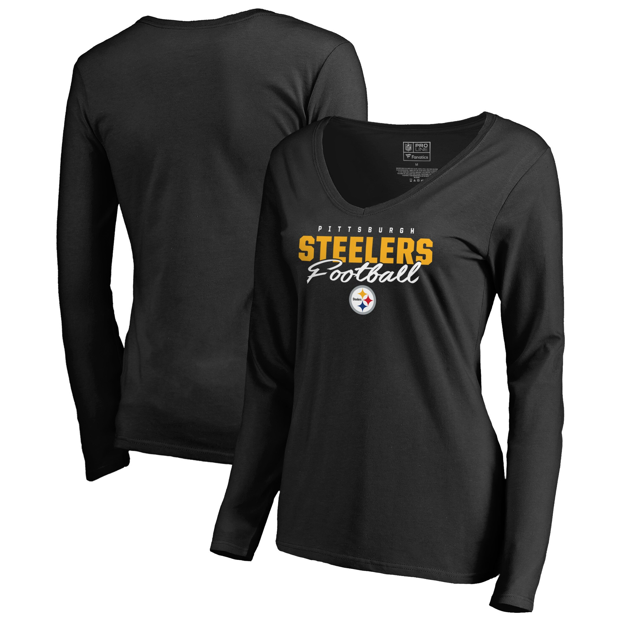 Pittsburgh Steelers NFL Pro Line by Fanatics Branded Women's Iconic Collection Script Assist Long Sleeve V-Neck T-Shirt - Black