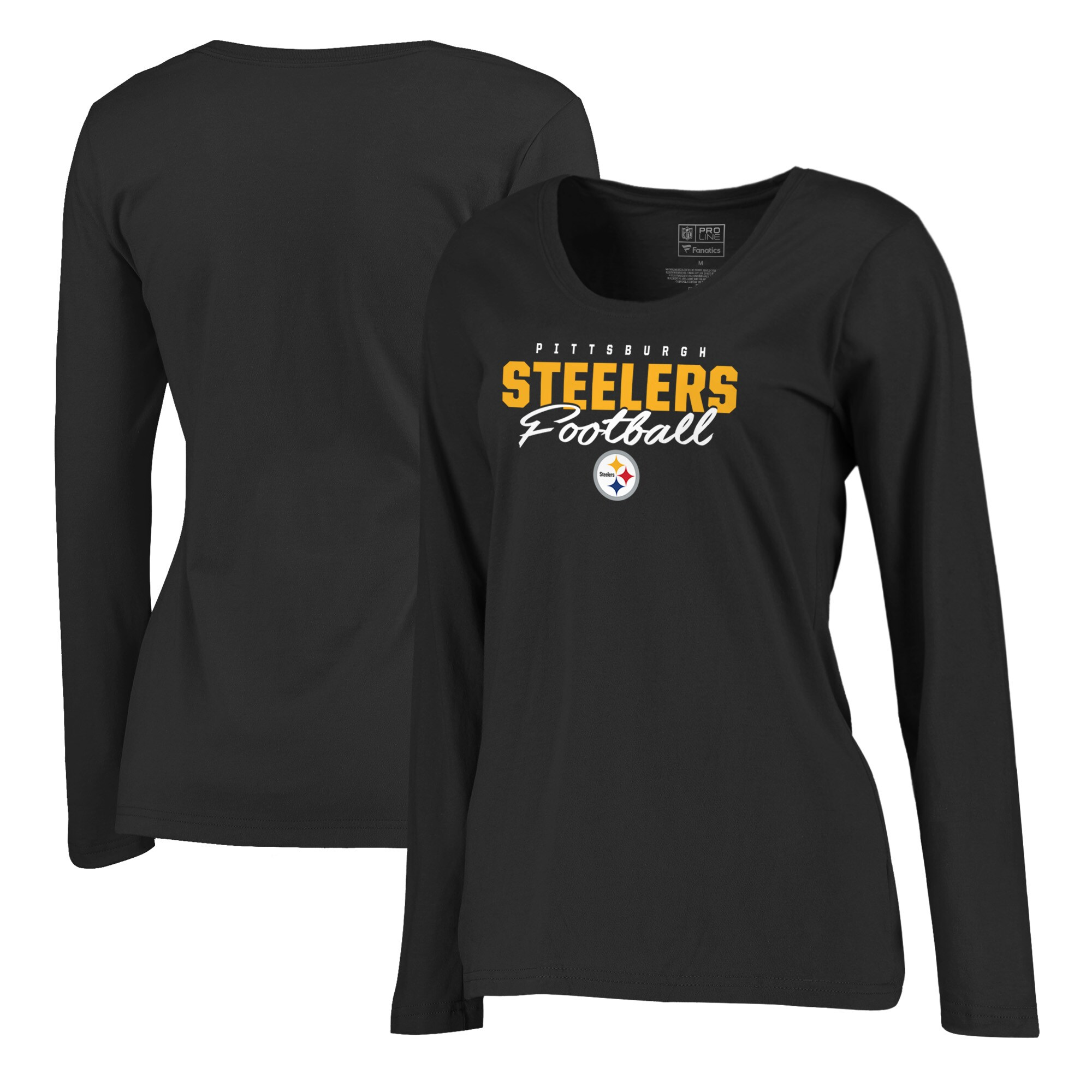 Pittsburgh Steelers NFL Pro Line by Fanatics Branded Women's Iconic Collection Script Assist Plus Size Long Sleeve T-Shirt - Black