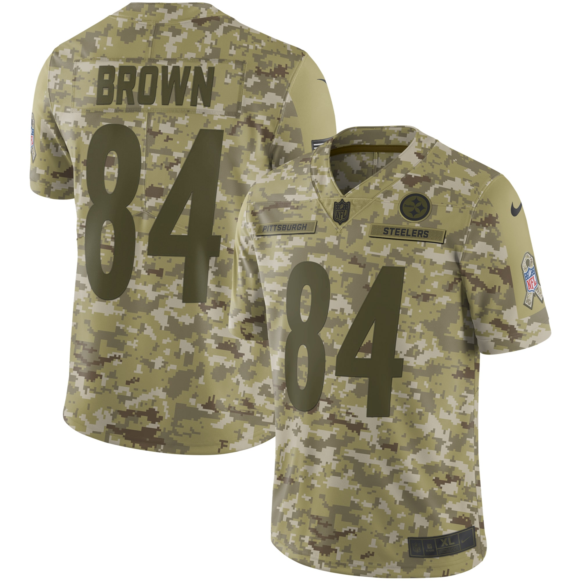 Antonio Brown Pittsburgh Steelers Nike Salute to Service Limited Jersey - Camo