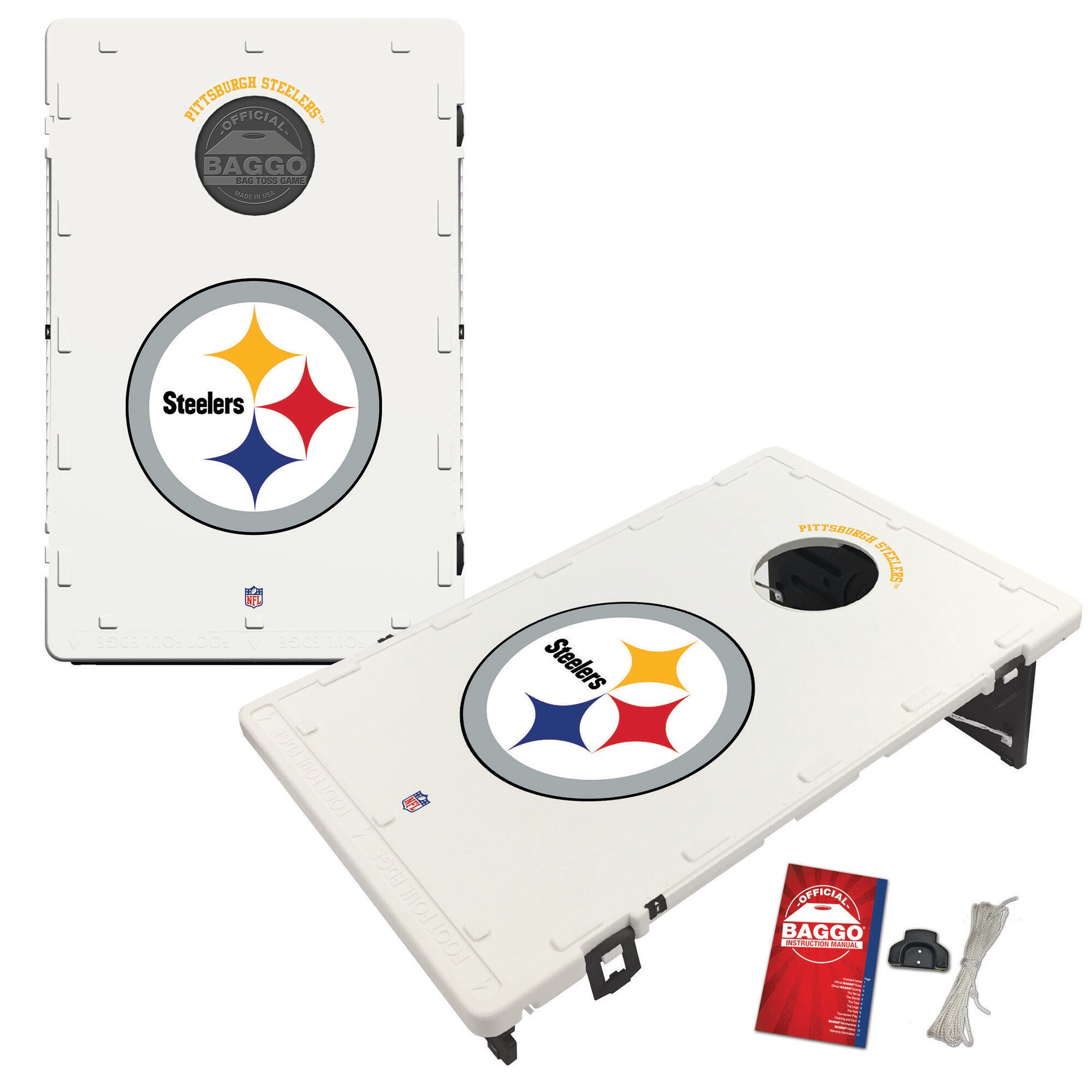 Pittsburgh Steelers 2' x 3' Classic Design BAGGO Cornhole Board Tailgate Toss Set
