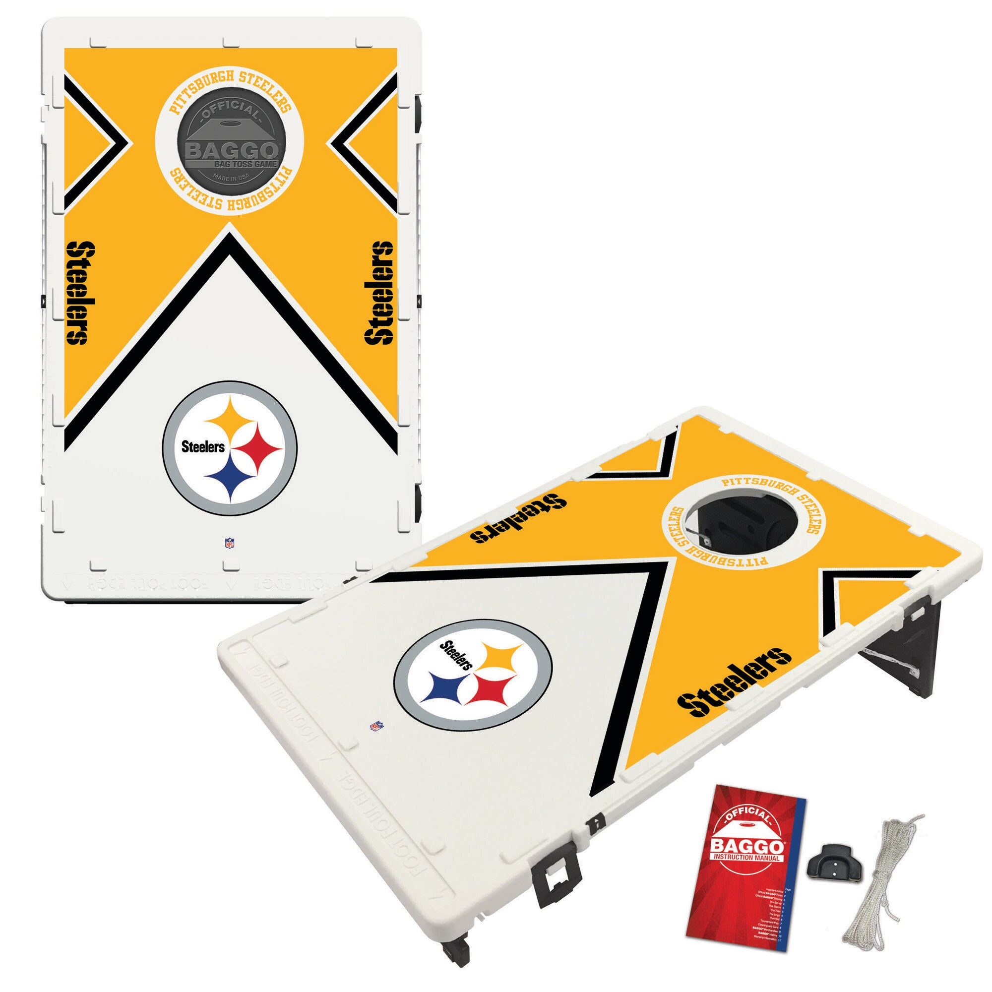 Pittsburgh Steelers 2' x 3' BAGGO Vintage Cornhole Board Tailgate Toss Set