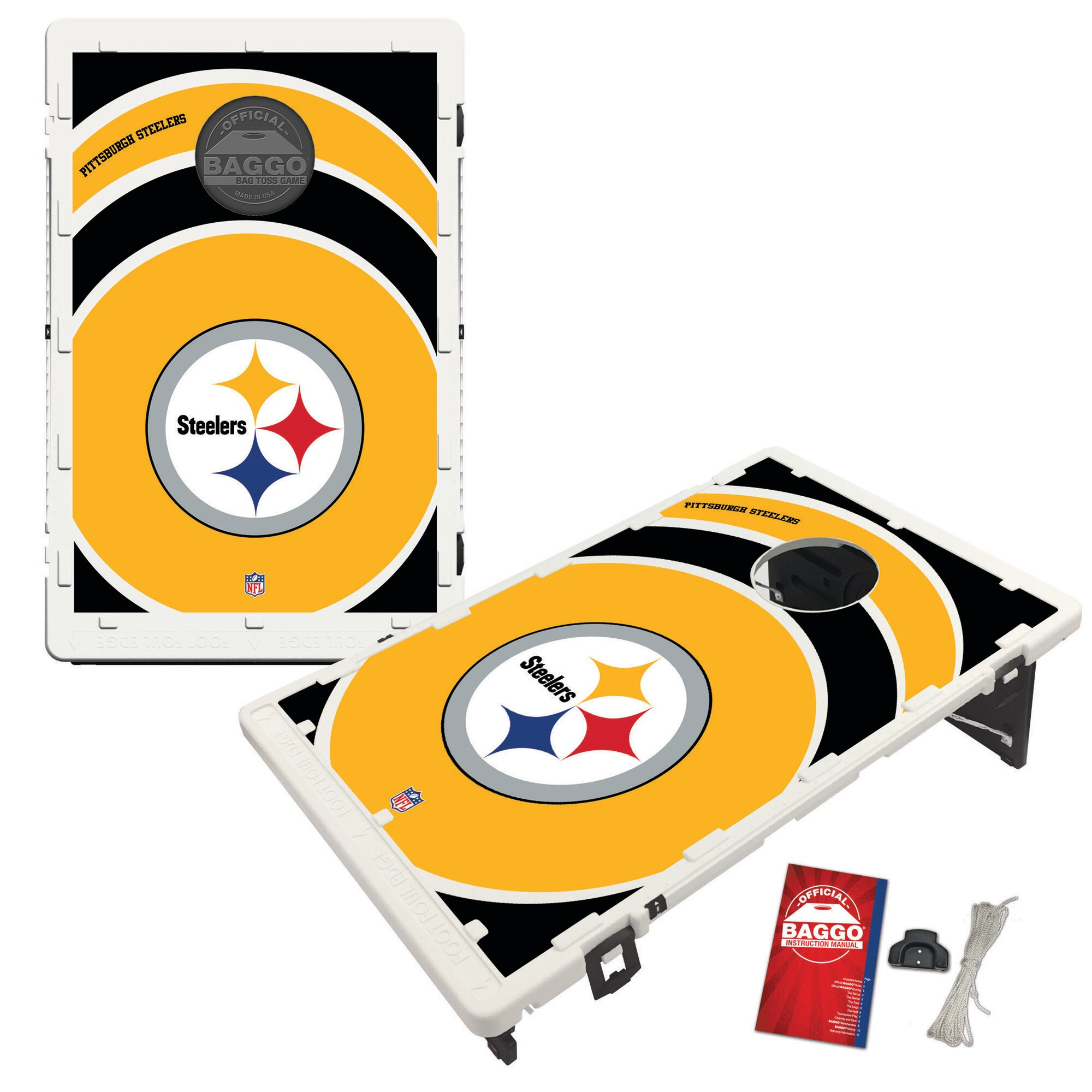 Pittsburgh Steelers 2' x 3' BAGGO Vortex Cornhole Board Tailgate Toss Set
