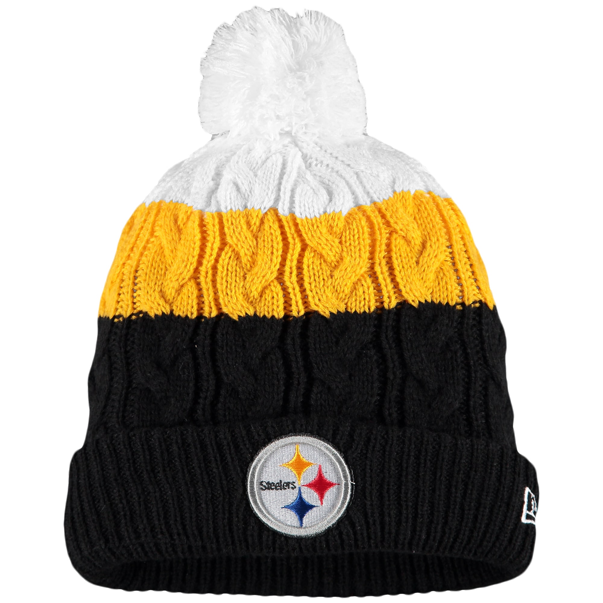 Pittsburgh Steelers New Era Women's Layered Up 2 Cuffed Knit Hat with Pom - White/Black