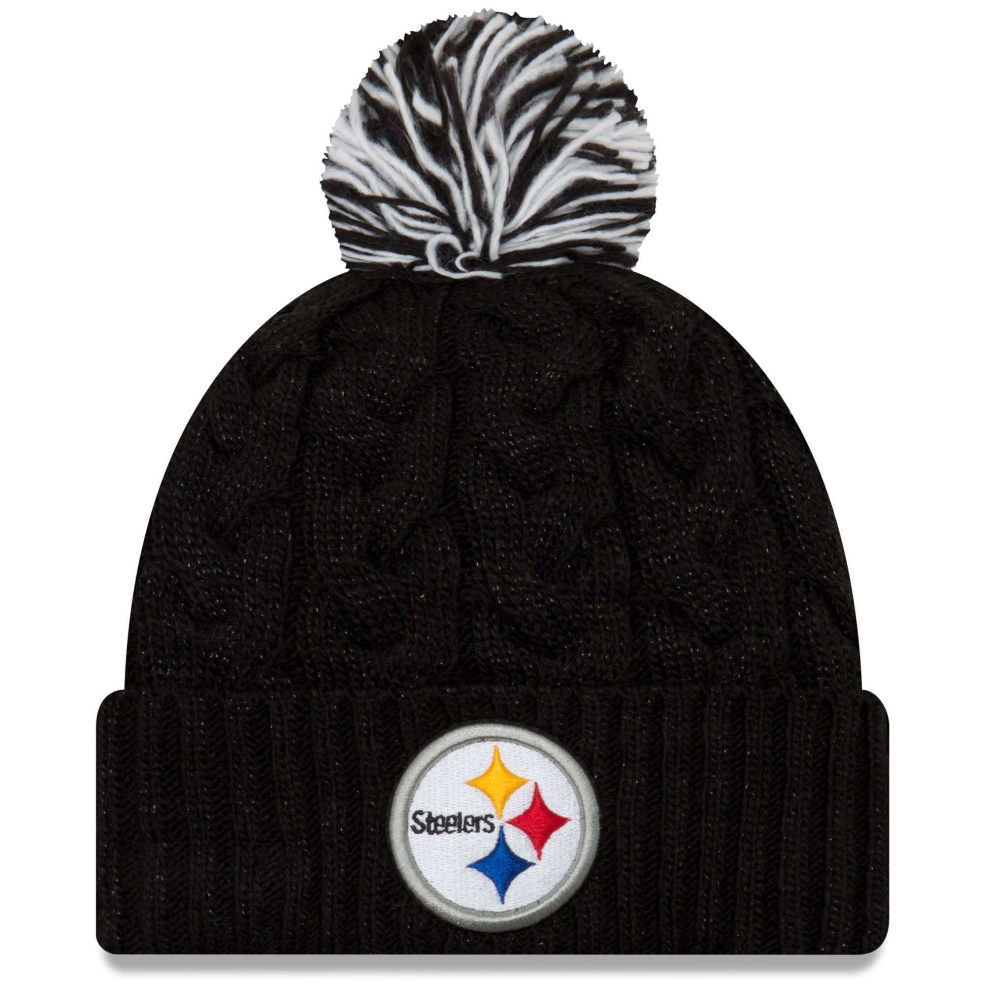 Pittsburgh Steelers New Era Women's Cozy Cable Cuffed Knit Hat - Black