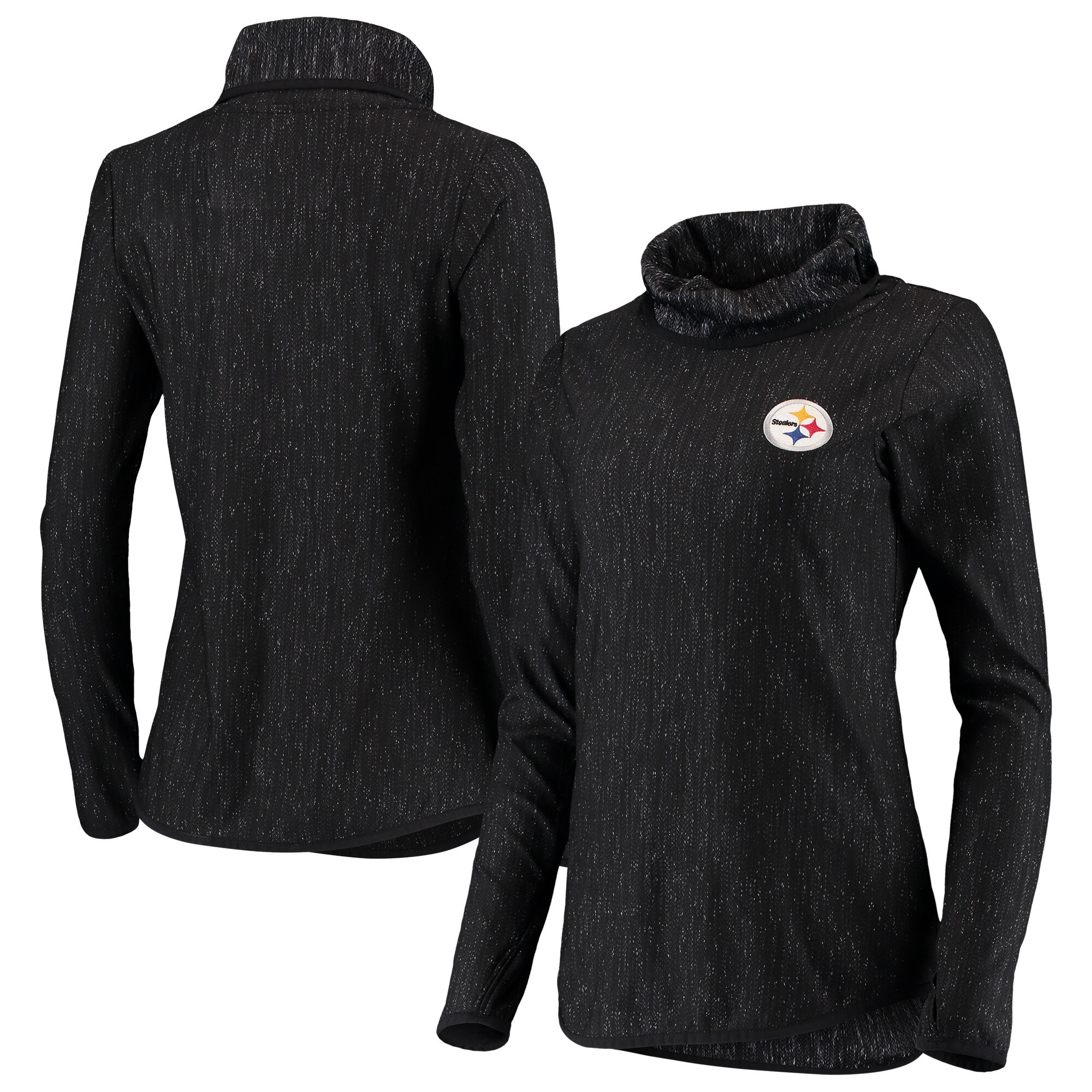 Pittsburgh Steelers Antigua Women's Equalizer Cowl Neck Pullover Sweatshirt - Heathered Black
