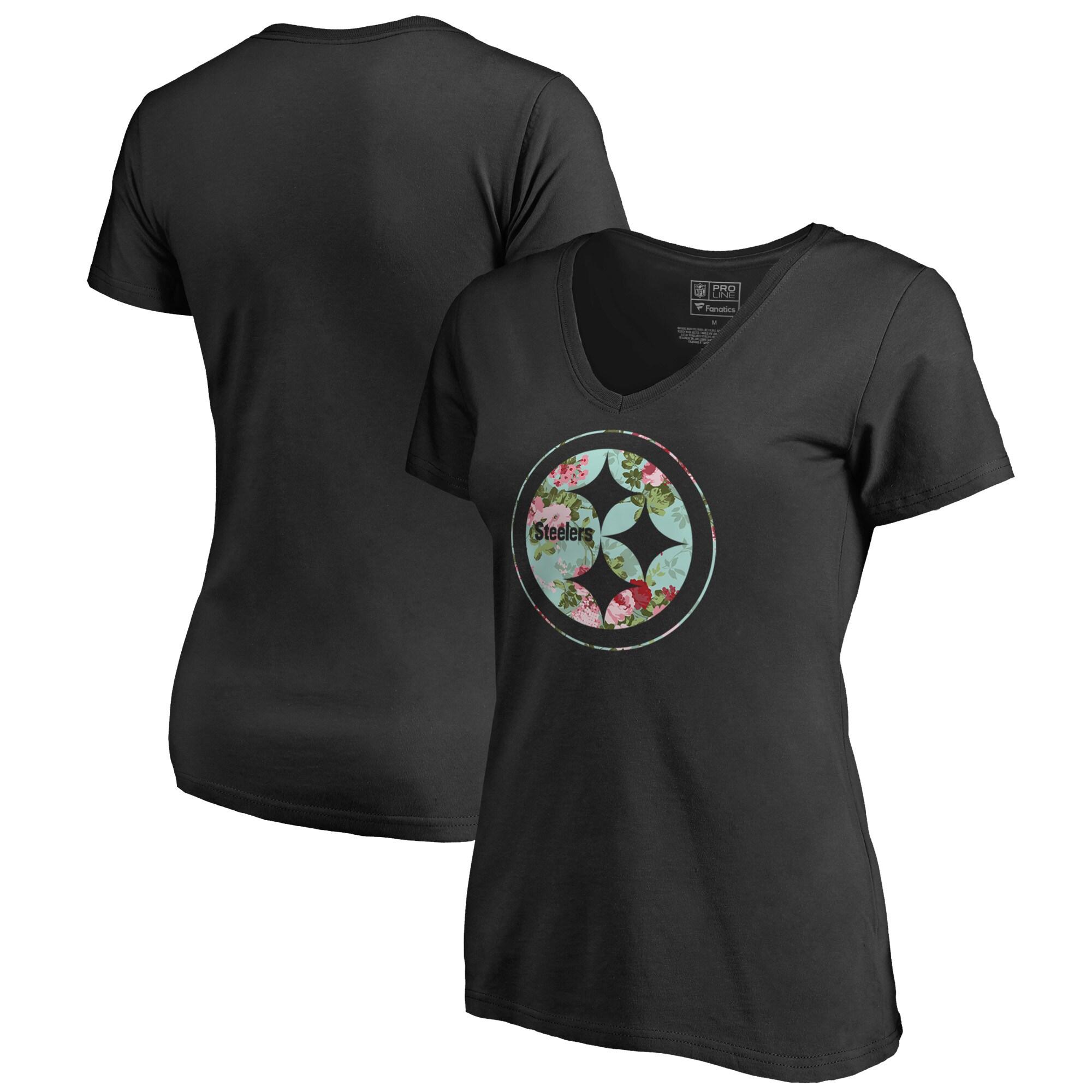 Pittsburgh Steelers NFL Pro Line by Fanatics Branded Women's Lovely V-Neck T-Shirt - Black