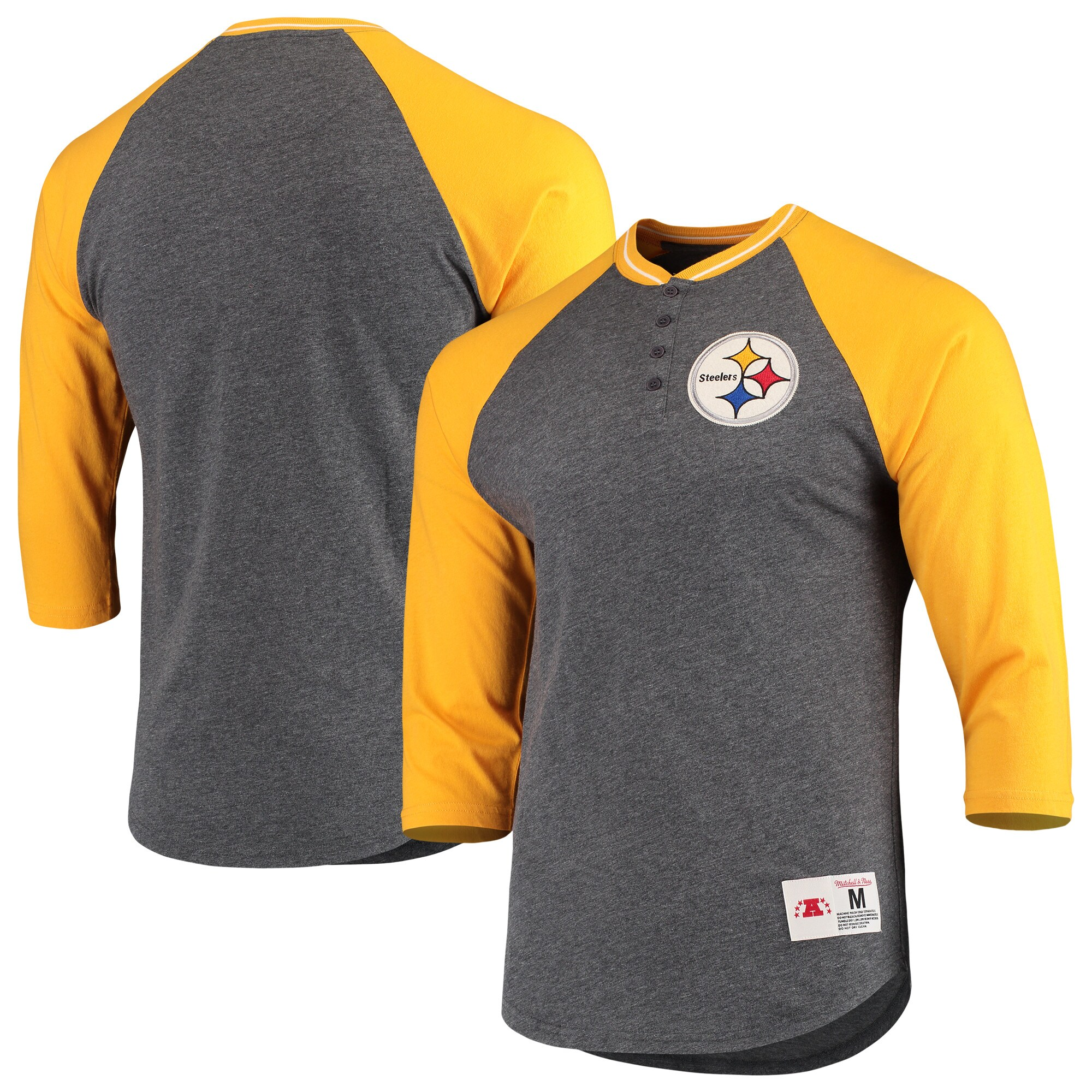 Pittsburgh Steelers Mitchell & Ness 3/4-Sleeve Raglan Henley T-Shirt - Black/Gold