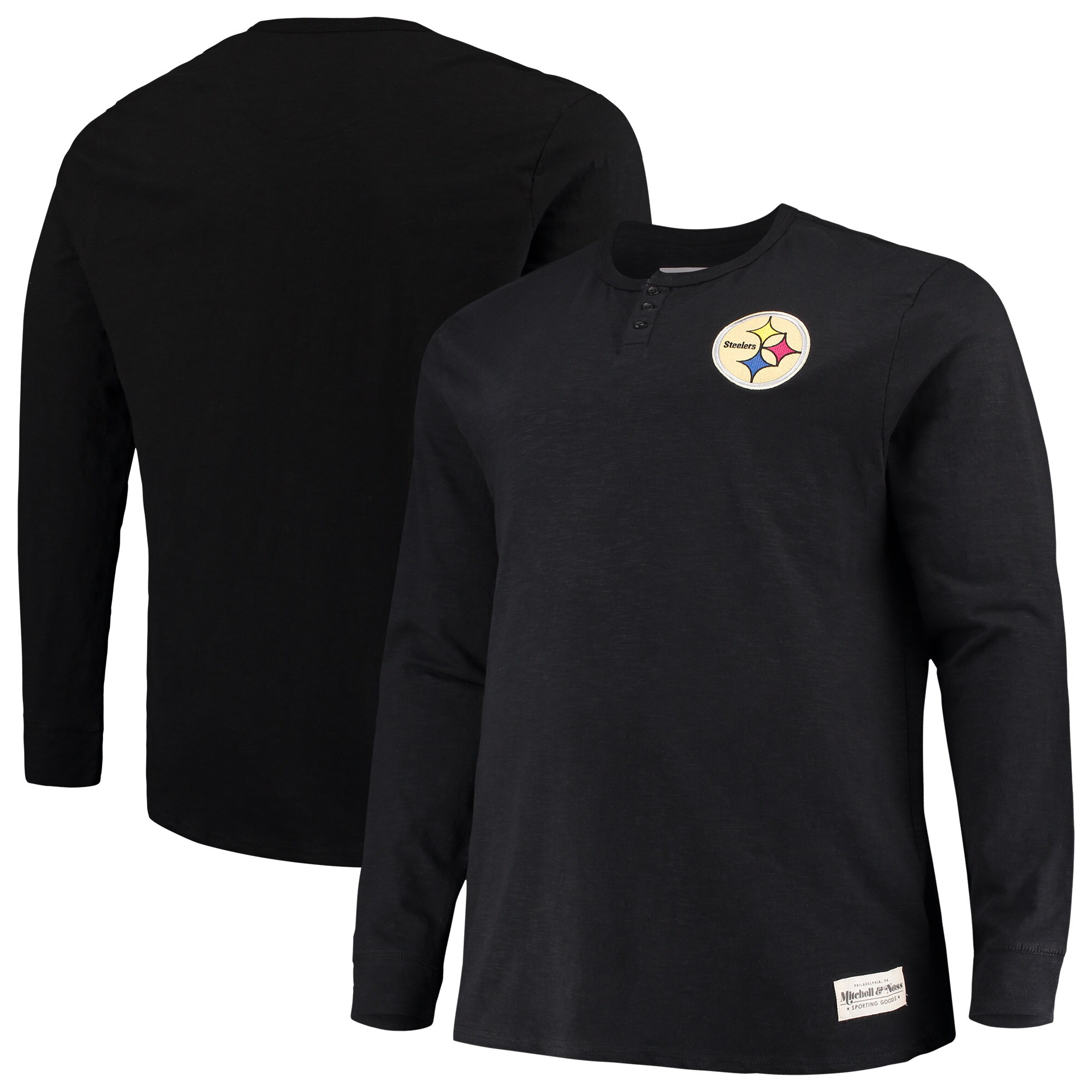 Pittsburgh Steelers Mitchell & Ness Big & Tall First Round Pick Long Sleeve Henley T-Shirt - Black
