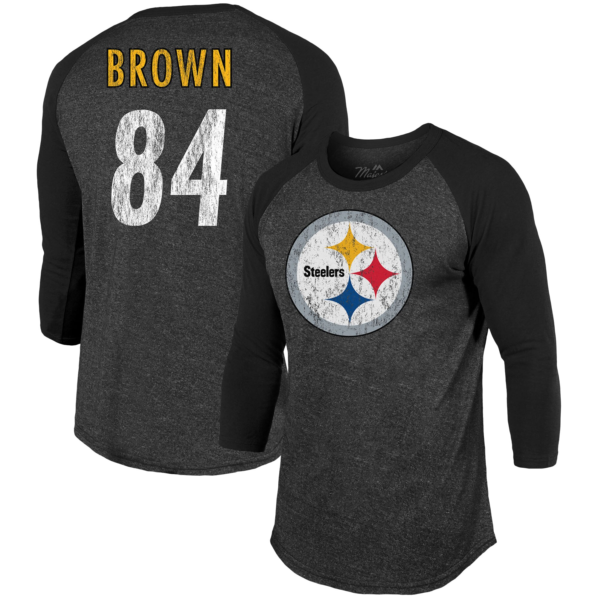 Antonio Brown Pittsburgh Steelers Majestic Threads Player Name & Number Tri-Blend 3/4-Sleeve Raglan T-Shirt - Black