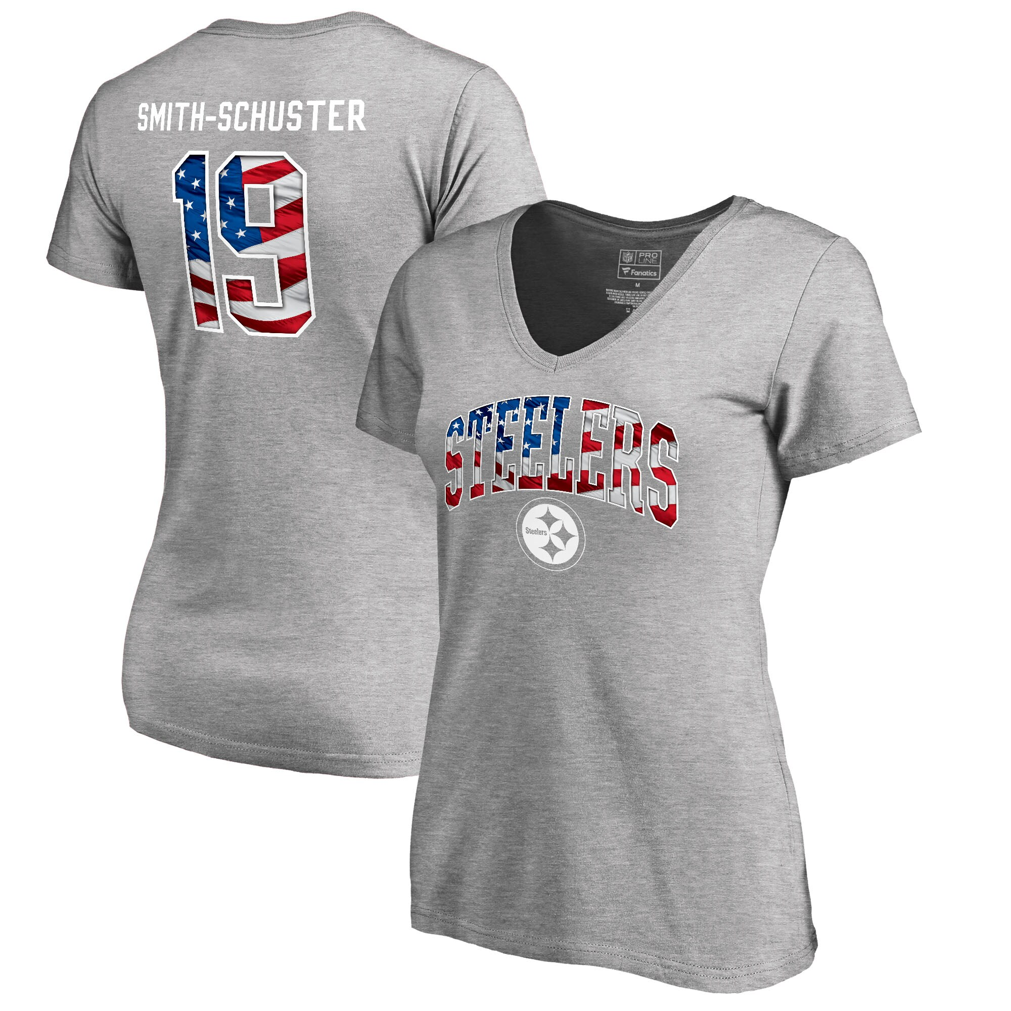 JuJu Smith-Schuster Pittsburgh Steelers NFL Pro Line by Fanatics Branded Women's Banner Wave Name & Number T-Shirt - Heather Gray