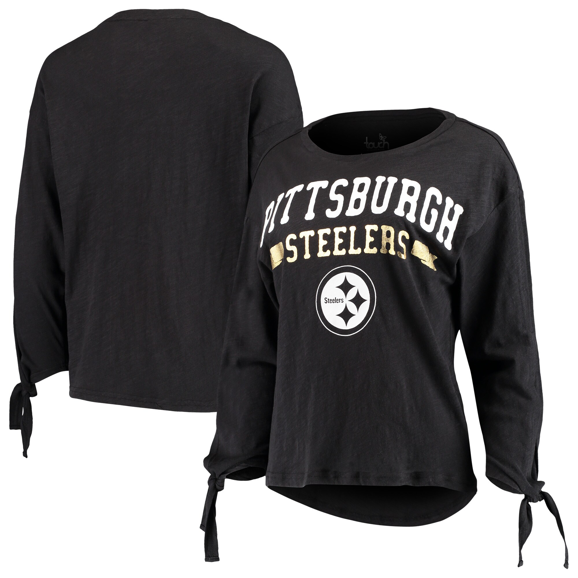 Pittsburgh Steelers Touch by Alyssa Milano Women's On The Fly Long Sleeve T-Shirt - Black